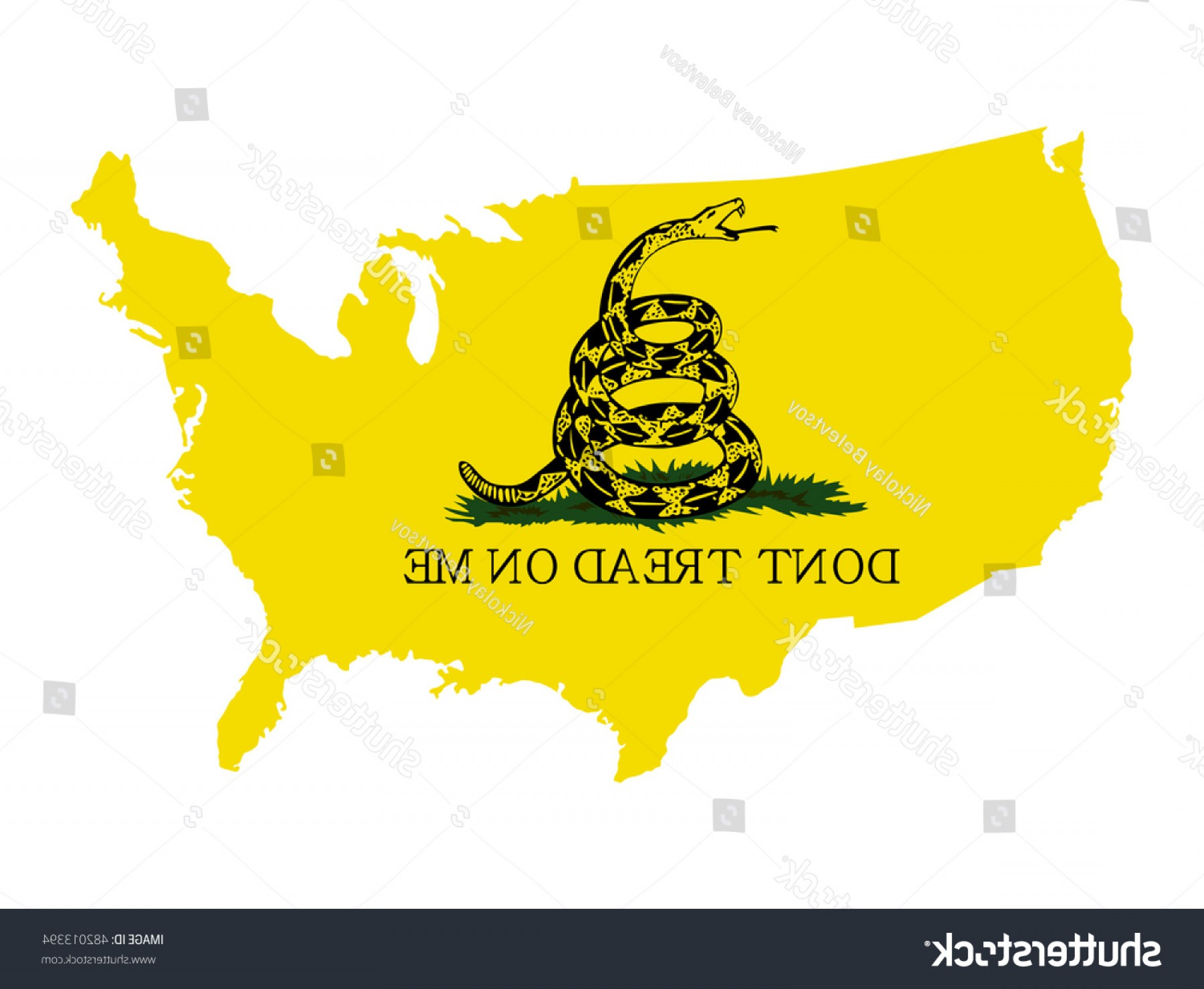 Gadsden Flag Vector Art: Vector Map Usa Rattlesnake Gadsden Flag