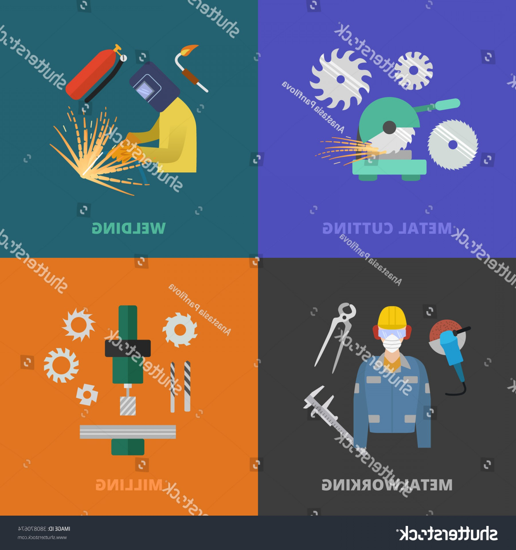 Hand Lathe Vector: Vector Metalworking Icons Concept Metal Cutting