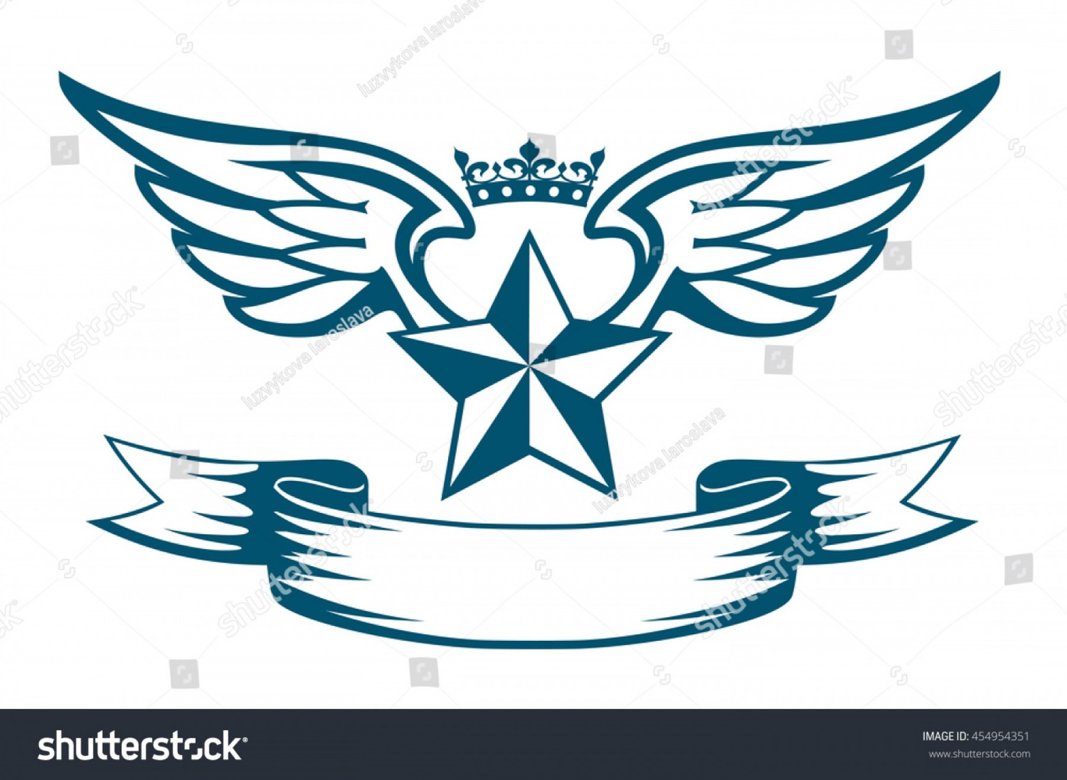 Army Aviator Wings Vector: Vector Monochrome Tattoo Logo Star Wings