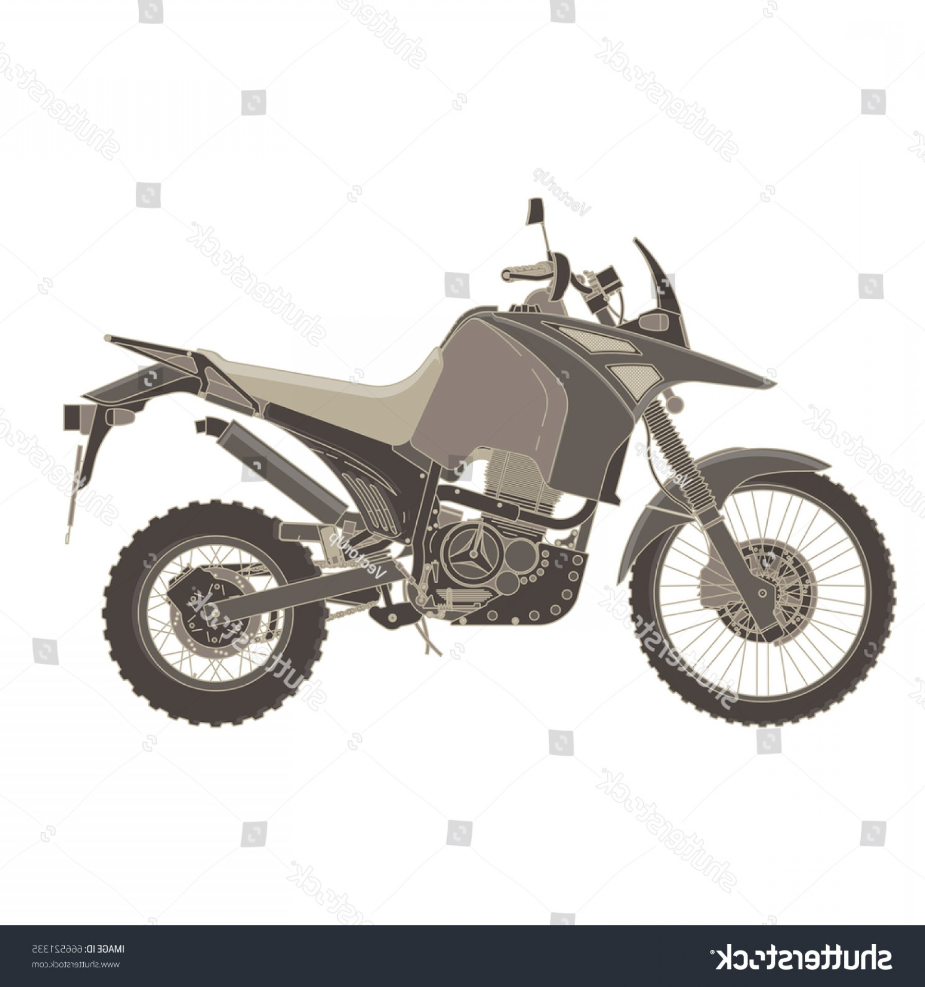Dirt Bike Gas Can Vector: Vector Motorbike Flat Icon Isolated Bike