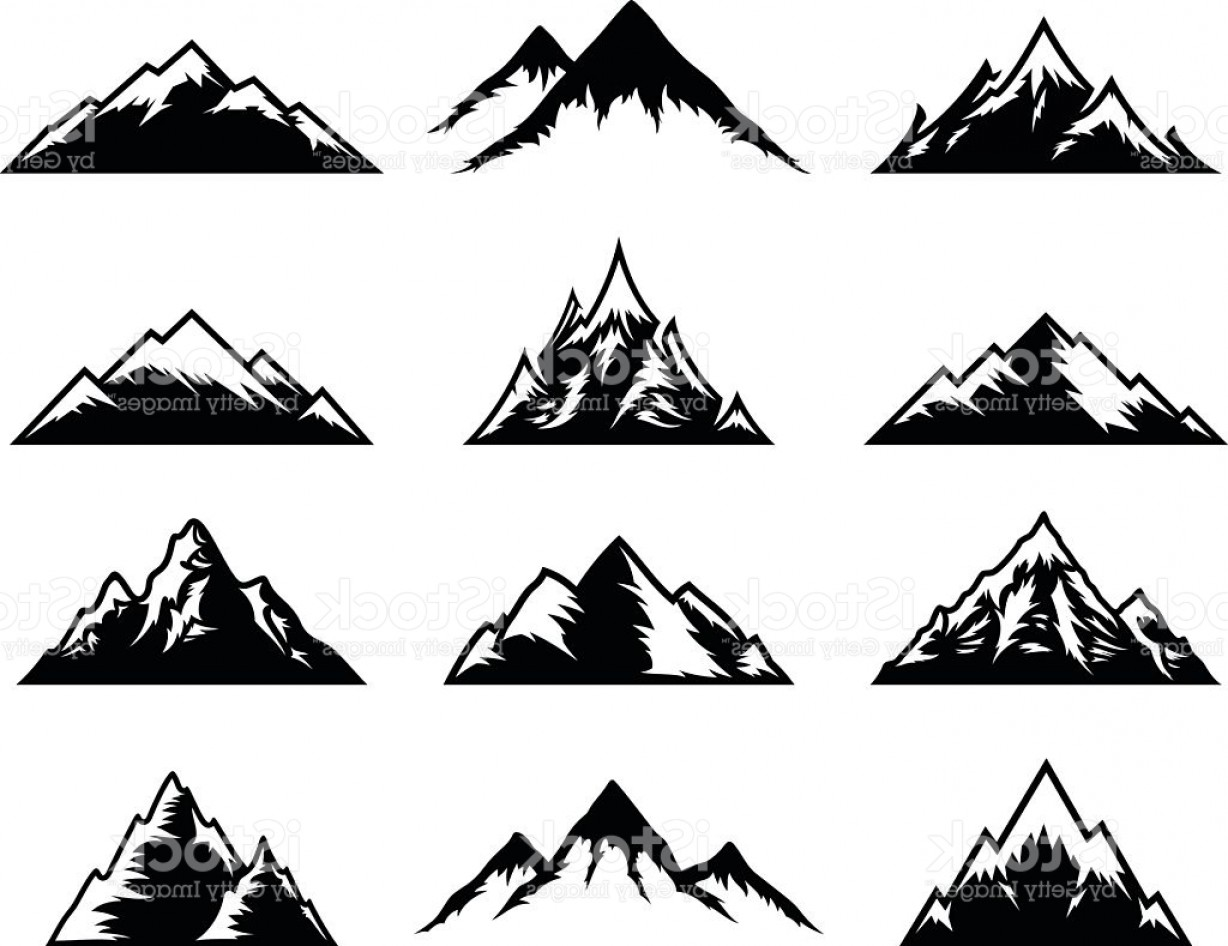 White Mountain Silhouette Vector Free: Vector Mountains Icons Isolated On White Gm