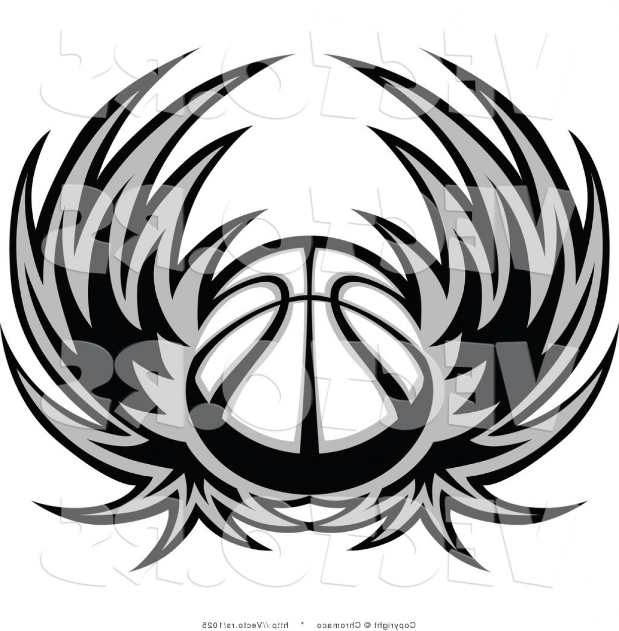 Vector Hi Res Black And White Wing: Vector Of A Basketball With Wings Grayscale By Chromaco
