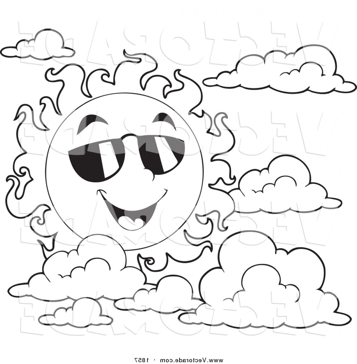 Black Sunglasses Clip Art Vector: Vector Of A Black And White Happy Summer Sun With Shades And Clouds By Visekart