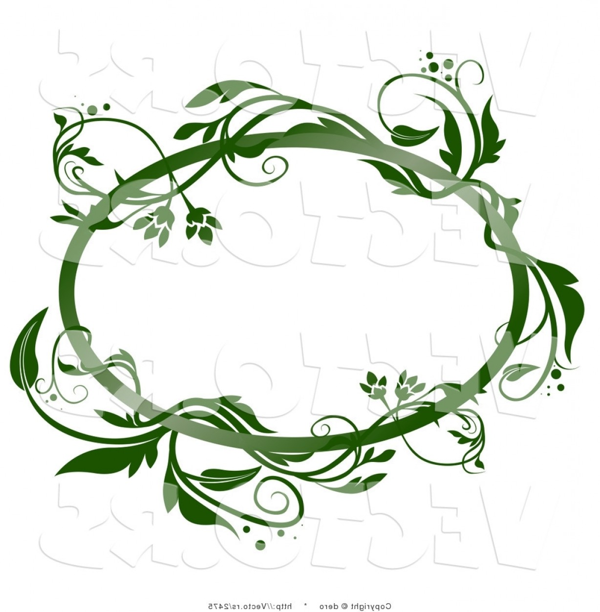 Green Oval Border Vector: Vector Of A Blank Oval Frame With Green Vines By Dero