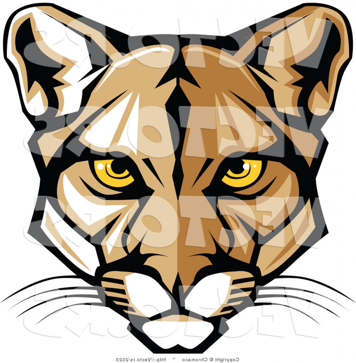Cougar Logo Vector: Vector Of A Cartoon Cougar Face With Yellow Eyes By Chromaco
