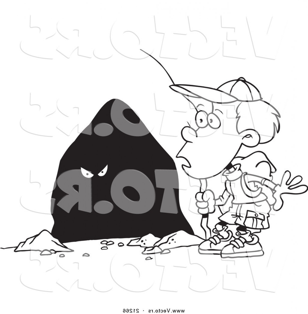 Cave Vector: Vector Of A Cartoon Hiker Boy Seeing Eyes In A Cave Coloring Page Outline By Toonaday