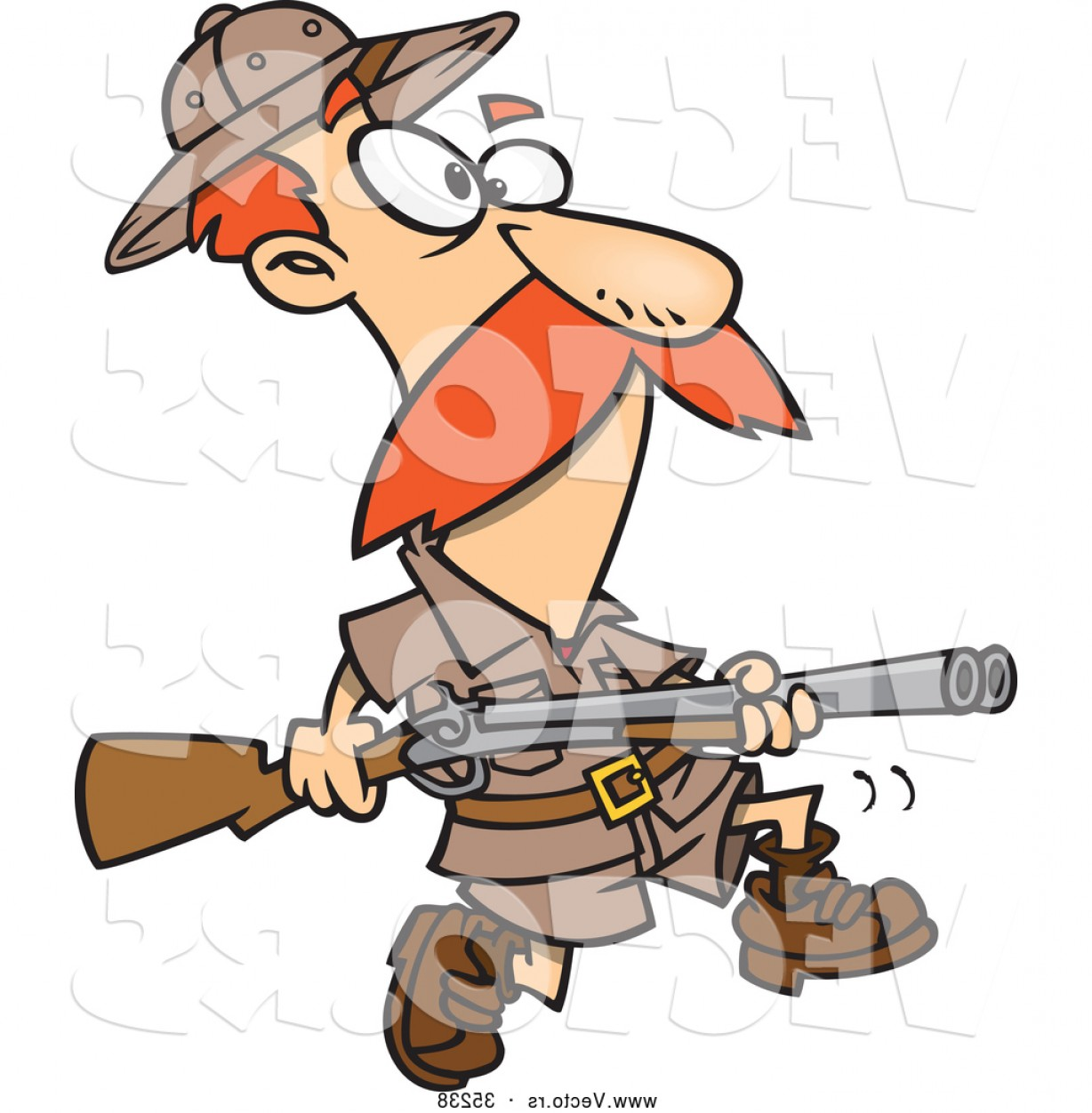 Vector Clip Art Hunting: Vector Of A Cartoon Hunter Carrying A Rifle While Looking For Big Game By Toonaday