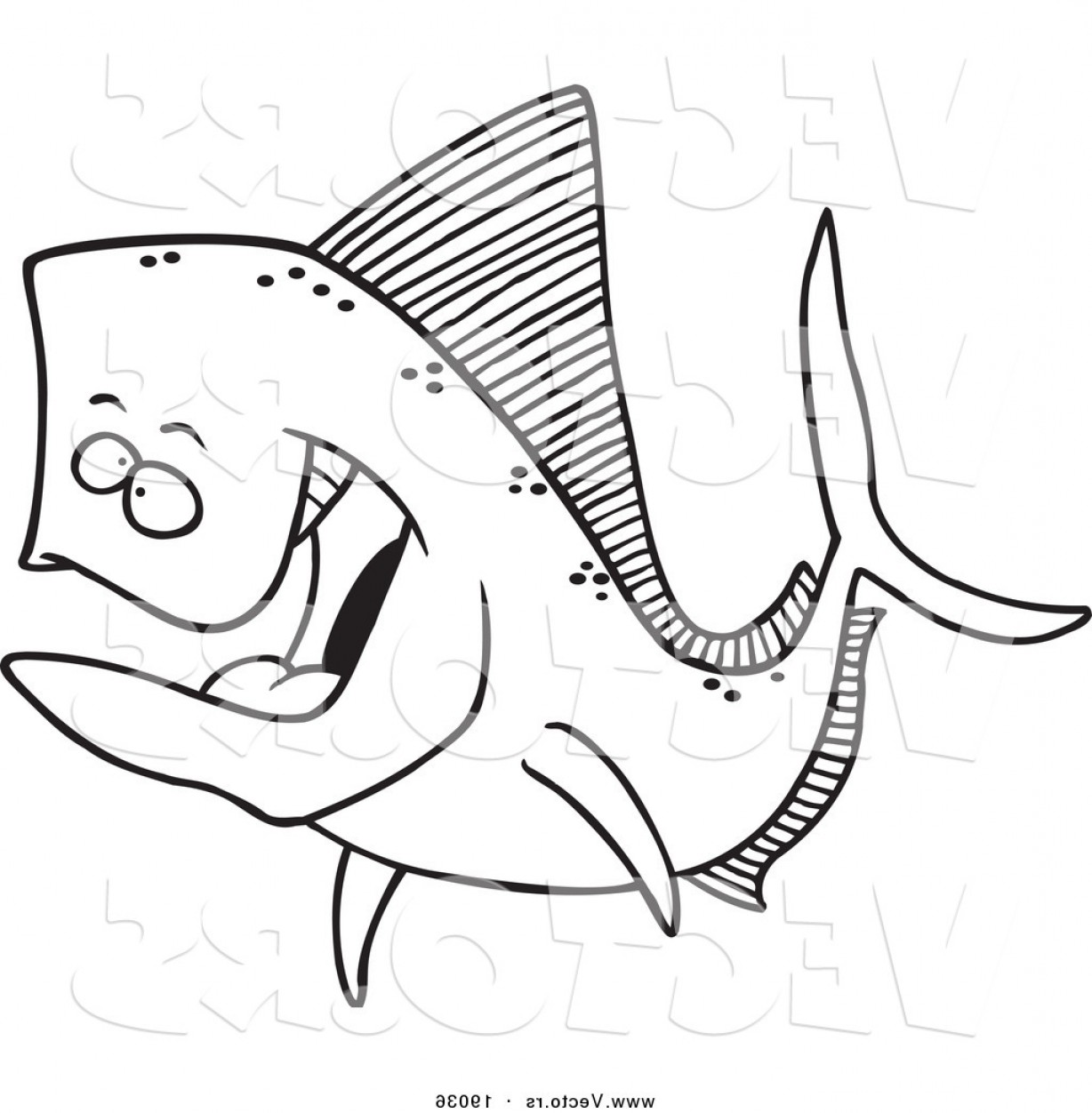 Mahi Mahi Outline Vector Images: Vector Of A Cartoon Mahi Mahi Fish Outlined Coloring Page By Toonaday