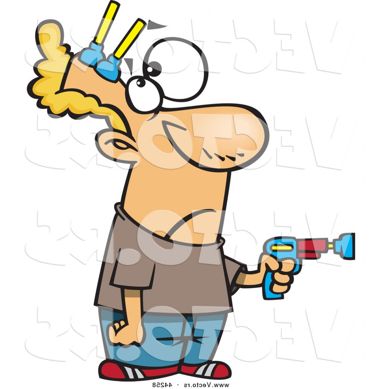 Nerf Gun Vector: Vector Of A Cartoon Man Pointing Toy Gun While Getting Shot With Nerf Darts To His Head By Toonaday