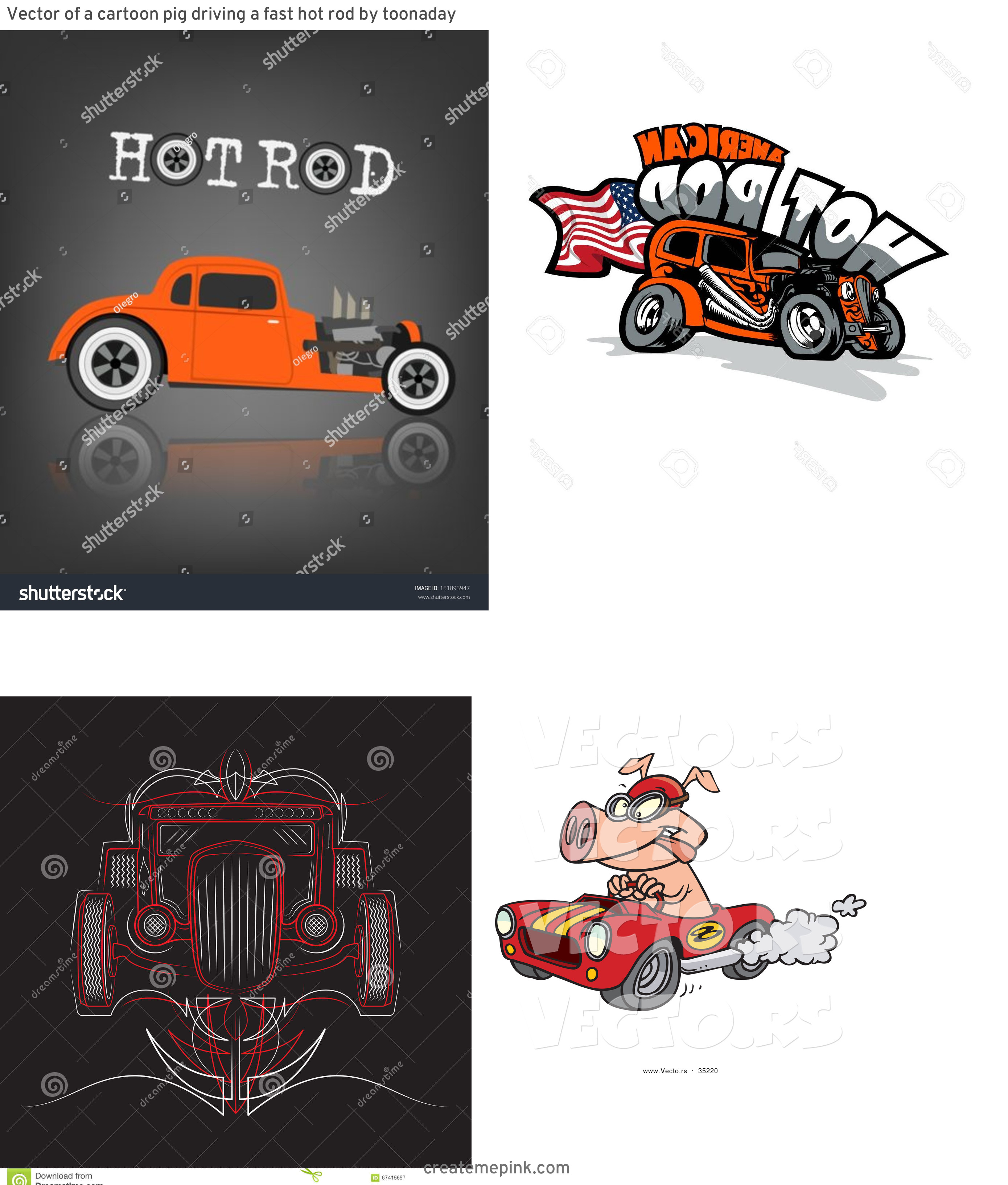 Vector Cartoon Hot Rod: Vector Of A Cartoon Pig Driving A Fast Hot Rod By Toonaday
