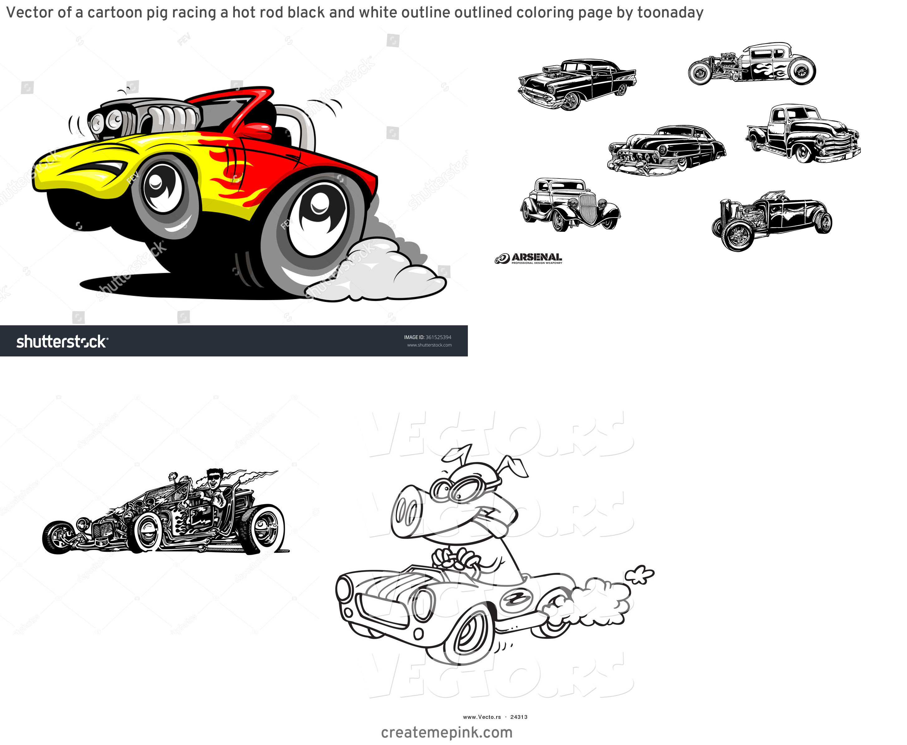 Vector Cartoon Hot Rod: Vector Of A Cartoon Pig Racing A Hot Rod Black And White Outline Outlined Coloring Page By Toonaday