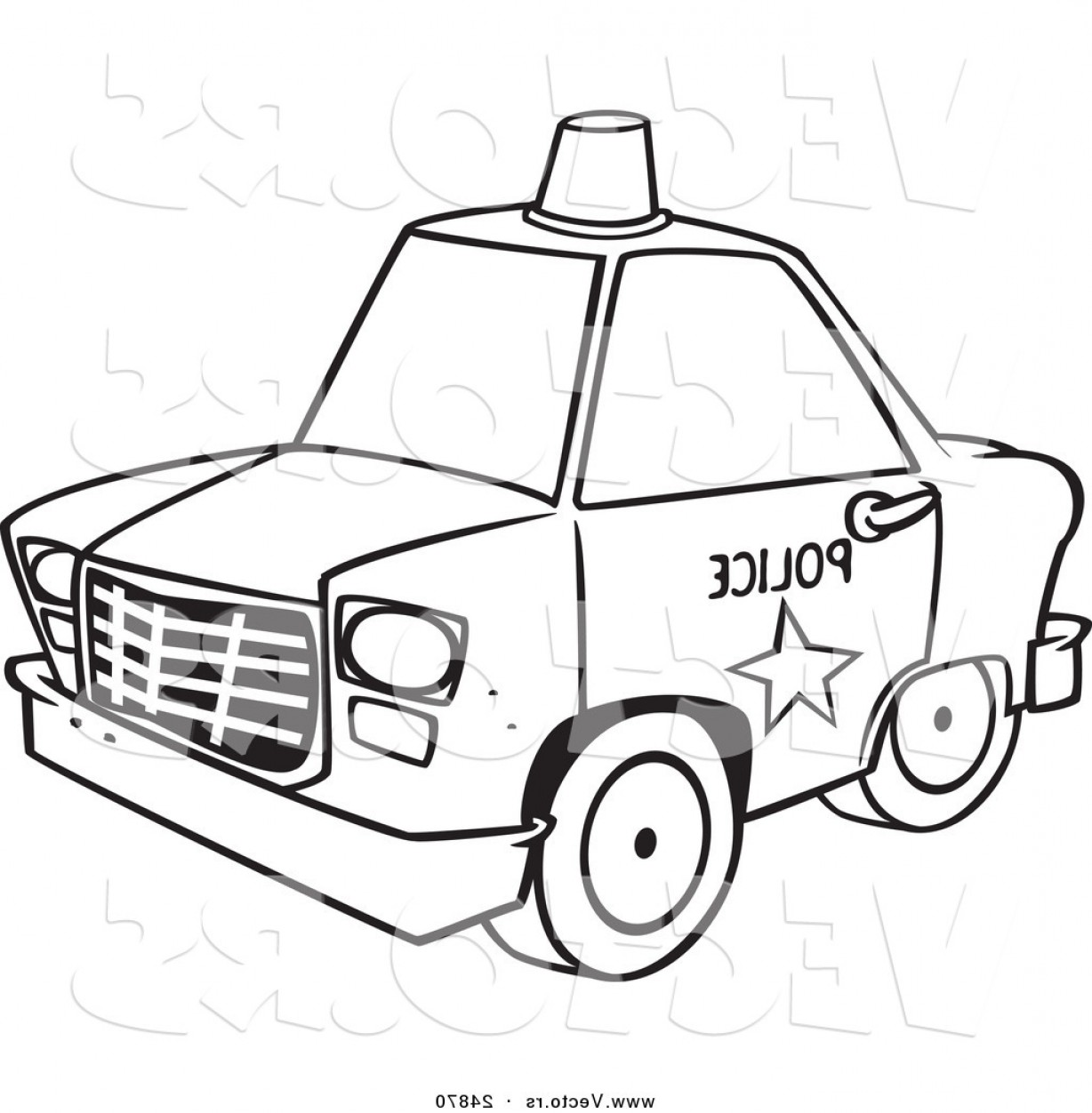 Custom Police Cars Vector: Vector Of A Cartoon Police Car With A Siren Cone On The Roof Outlined Coloring Page By Toonaday