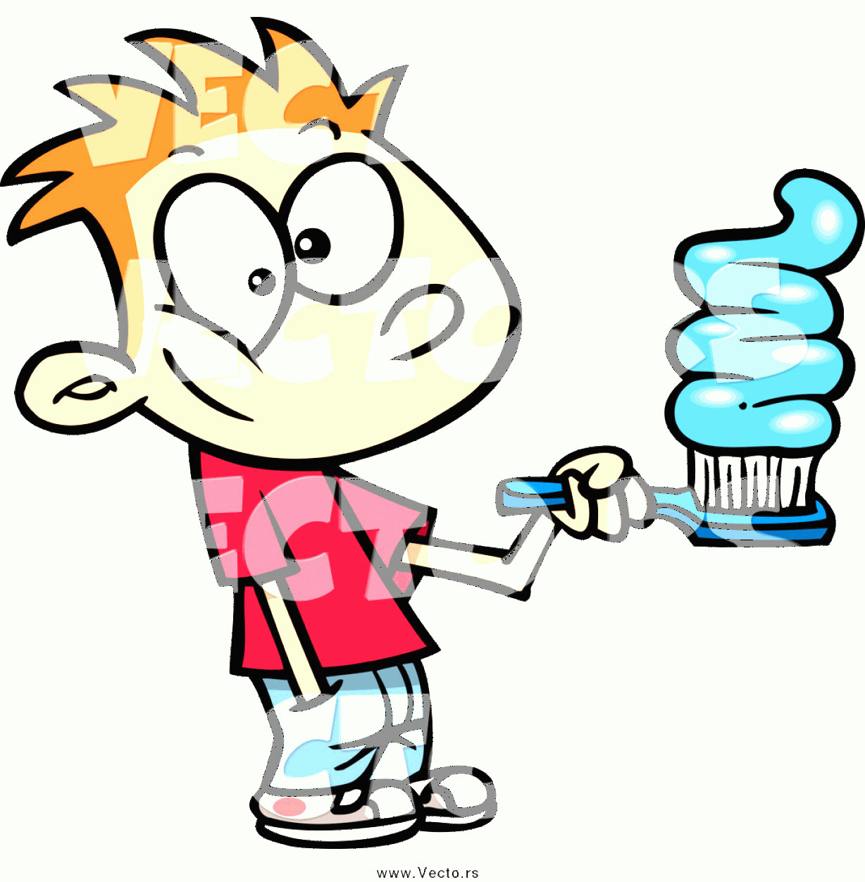 Toothpaste Cartoon Vector: Vector Of A Cartoon Red Haired Boy Going Overboard On Toothpaste By Toonaday