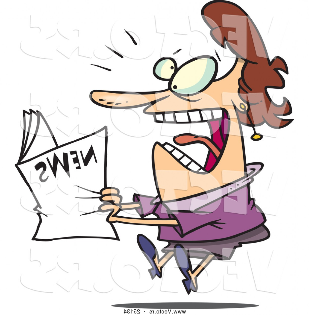 Newspaper Clip Art Vector: Vector Of A Paranoid Cartoon Woman Reading News That Is Shocking By Toonaday