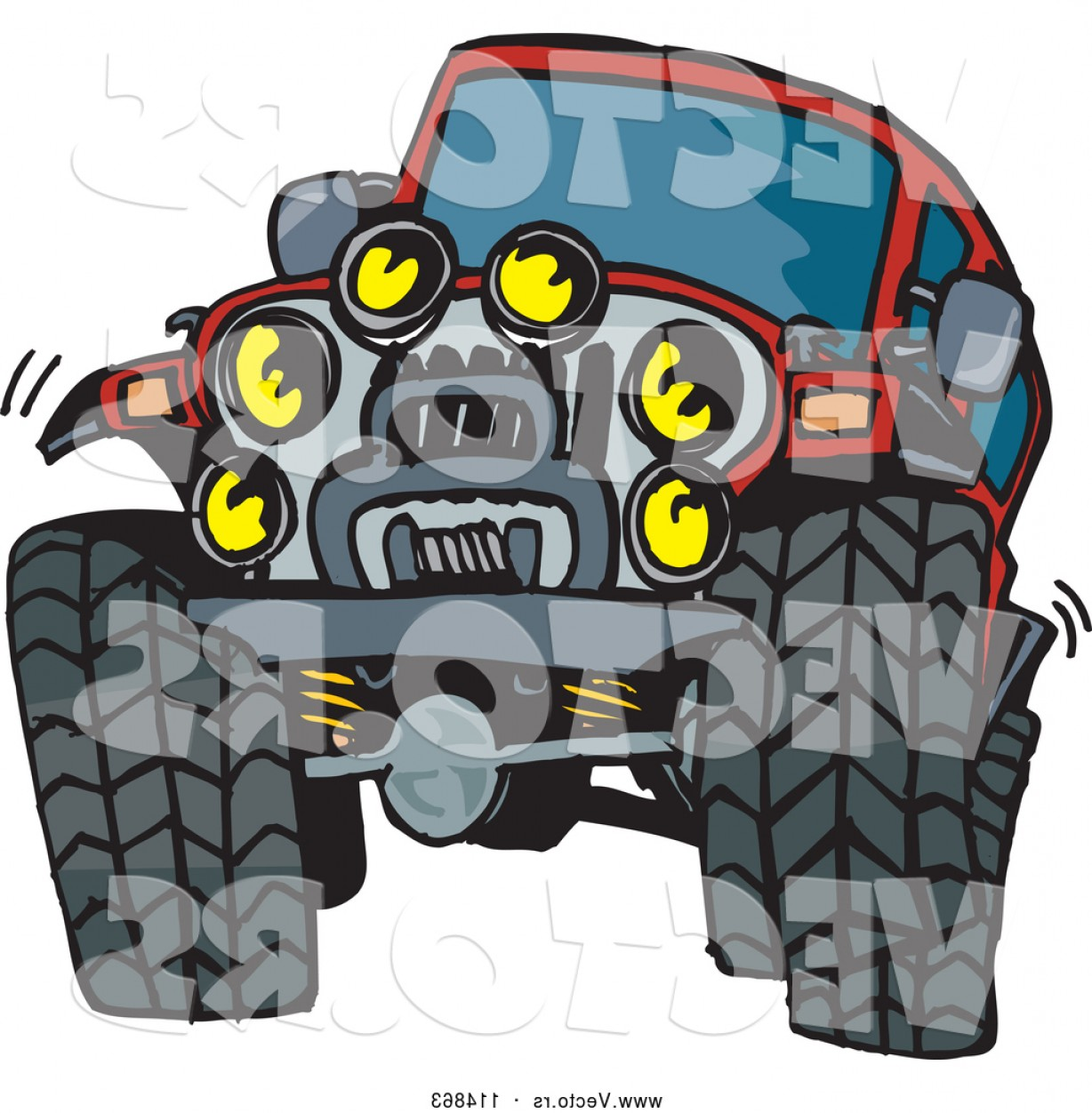 Jeep Tire Vector: Vector Of A Red Jeep Vehicle With Big Tires And Lots Of Lights By Dennis Holmes Designs