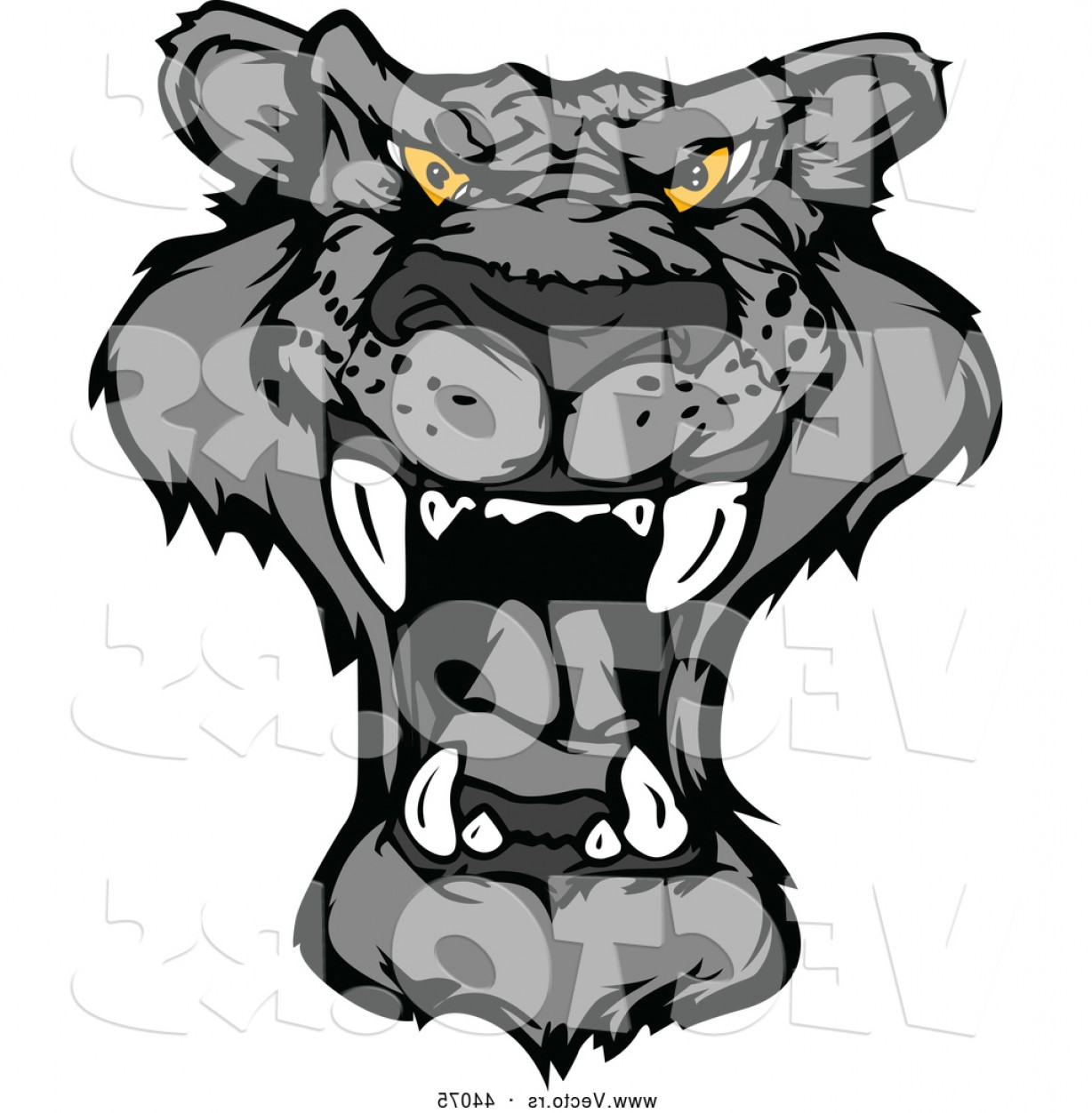 Panther Mascot Vector Sports: Vector Of A Roaring Cartoon Black Panther Mascot By Chromaco