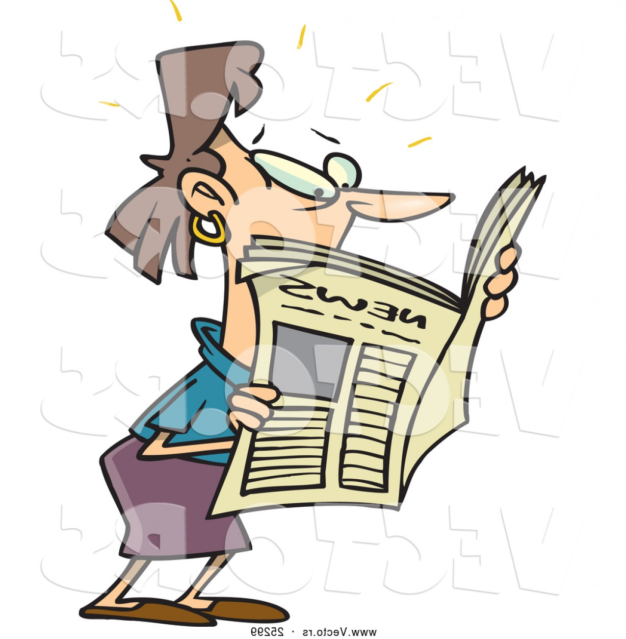 Newspaper Clip Art Vector: Vector Of A Shocked Cartoon Woman Reading Newspaper Article By Toonaday