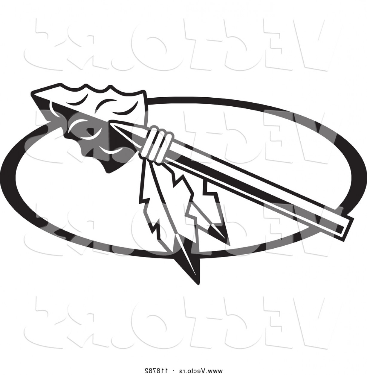 Braves Logo Vector: Vector Of Black And White Arrowhead With Feathers For Warriors Indians Chiefs Scouts Redskins Or Braves Logo By Johnny Sajem