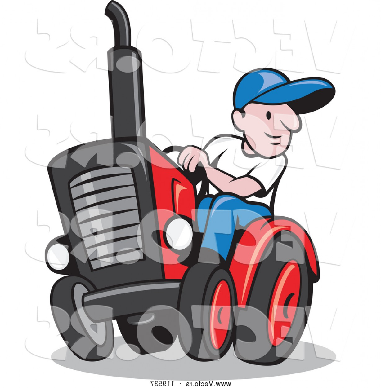 Free Tractor Vector: Vector Of Cartoon Farmer Driving A Tractor By Patrimonio