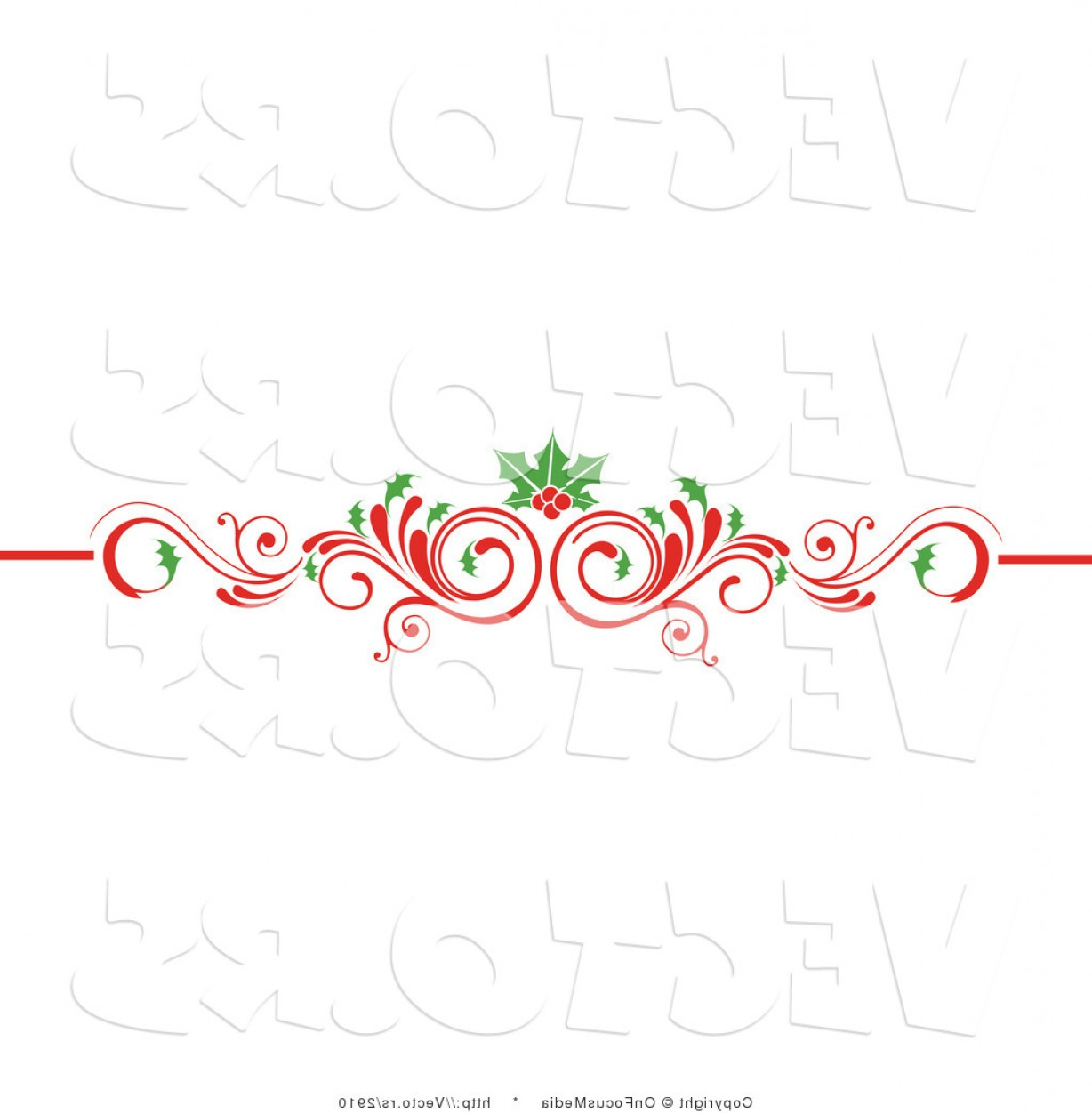 Vector Flourish Christmas: Vector Of Christmas Scrolled Red Flourish Vine With Holly Leaves And Berries By Onfocusmedia