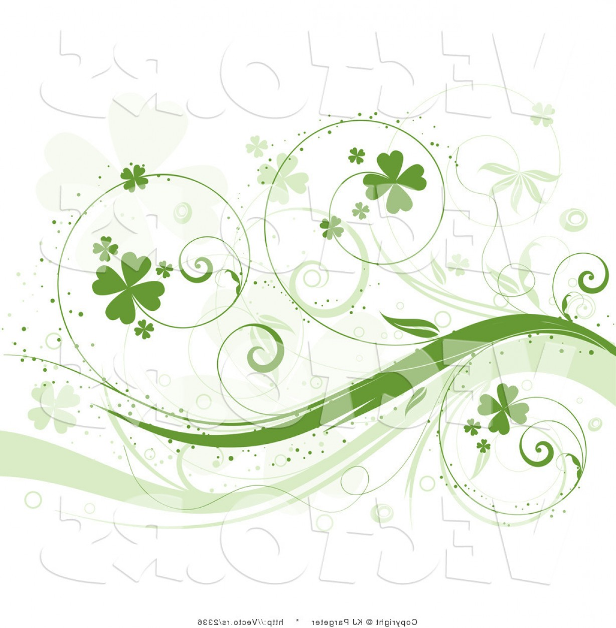 Vine Vector Graphics: Vector Of Curly Green Vines With Shamrocks Background Design Element By Kj Pargeter