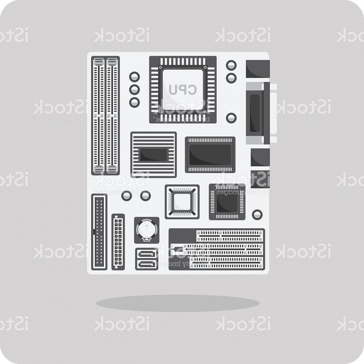 Computer Vector Icon Flat: Vector Of Flat Icon Motherboard For Computer Gm