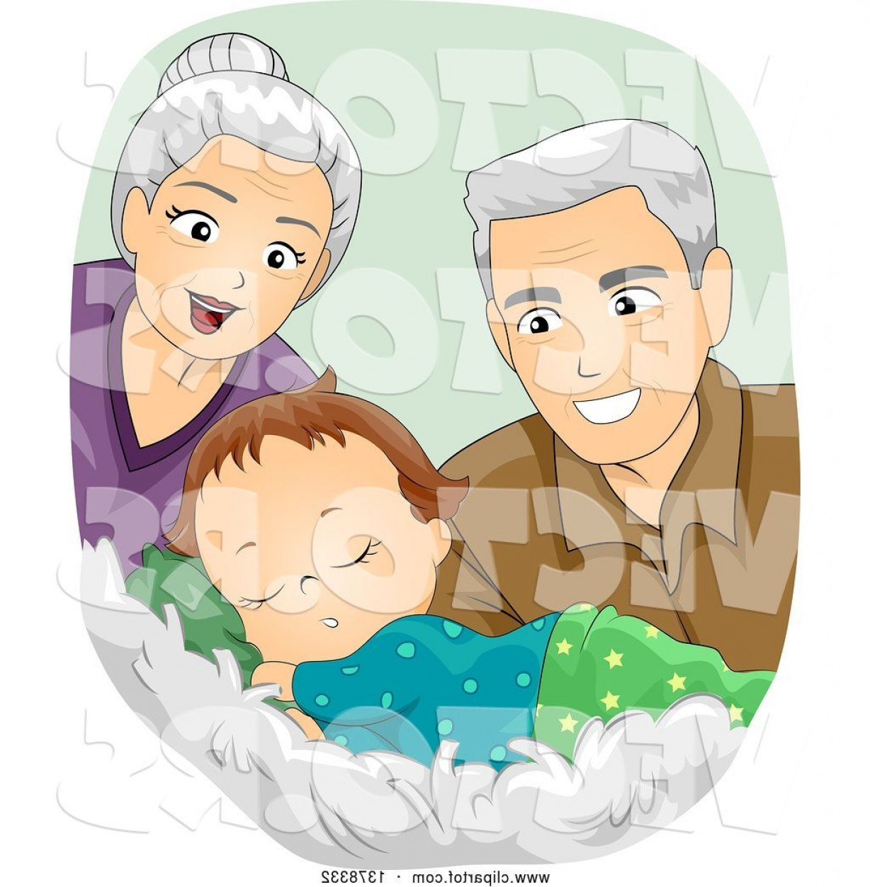 Sleeping Baby Vector: Vector Of Happy White Senior Grandparents Looking At A Sleeping Baby Boy By Bnp Design Studio