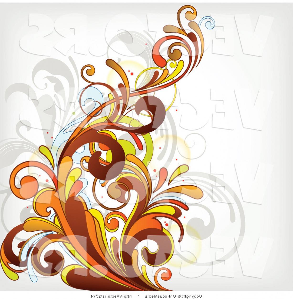 Vector Flourish Backgrounds: Vector Of Orange Flourish Vines Background Design On White Background Version By Onfocusmedia