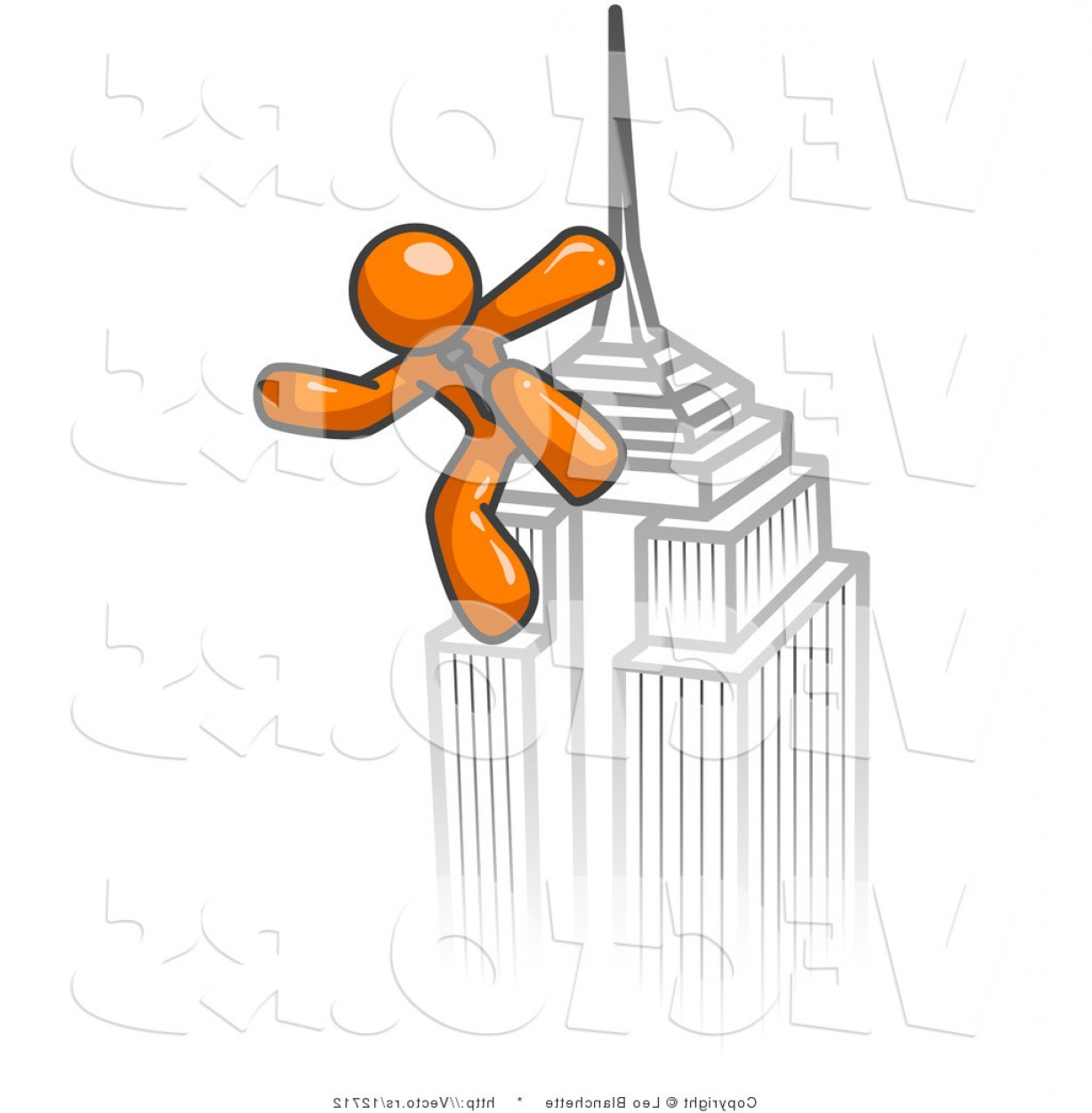 Drawings Of King Kong Vector: Vector Of Orange Guy Climbing To The Top Of A Skyscraper Tower Like King Kong Success Achievement By Leo Blanchette