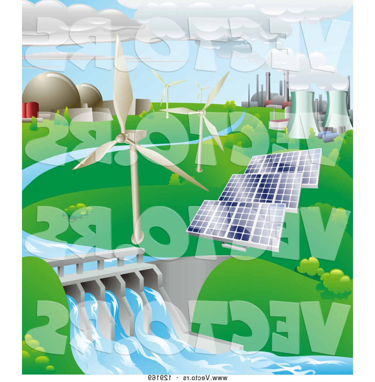 Vector Power Plant Utility: Vector Of Power Generation Farm Nuclear Fossil Fuel Wind Power Photovoltaic Cells And Hydro Electric Water By Atstockillustration