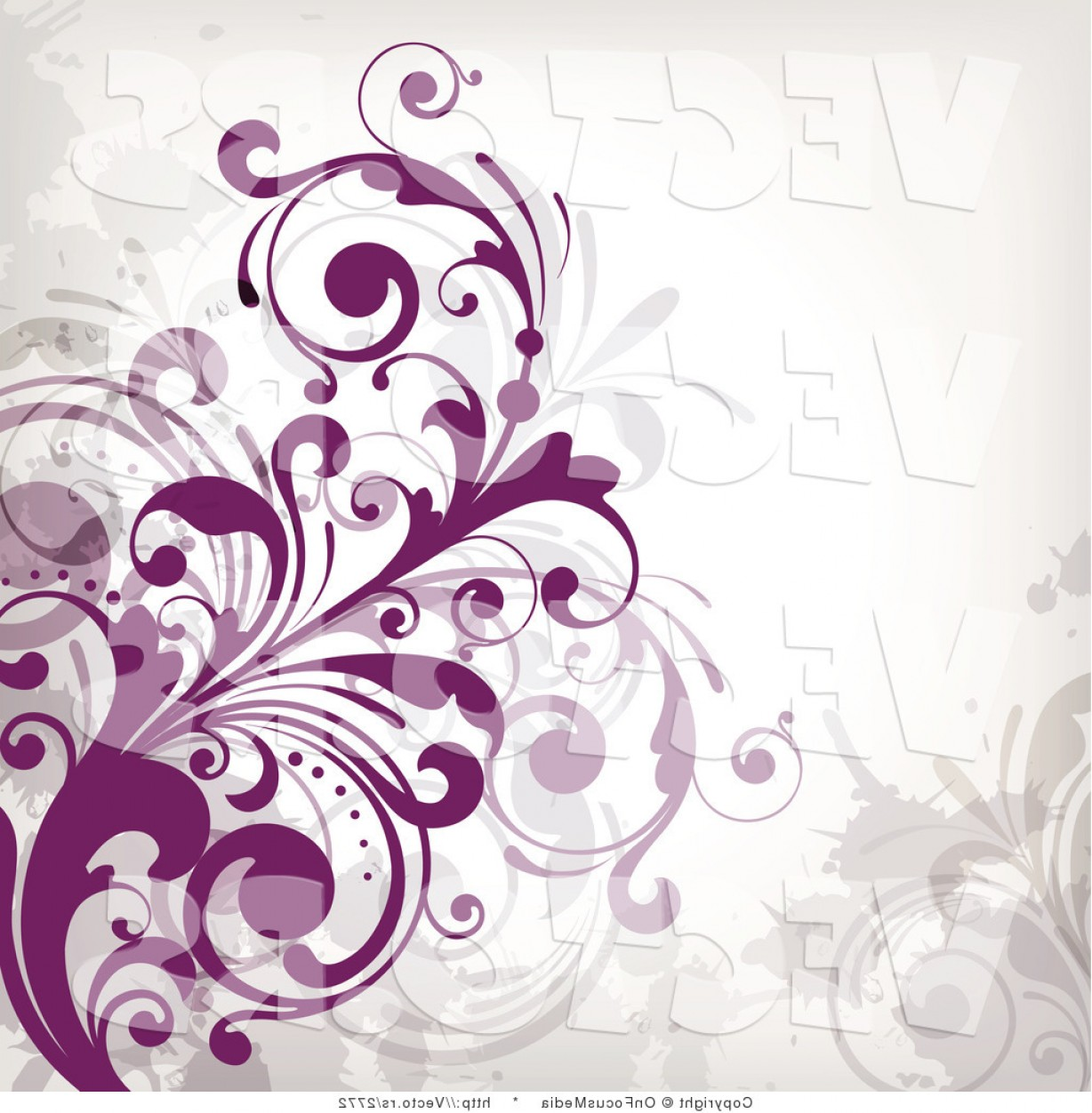 Vector Flourish Backgrounds: Vector Of Purple Flourish Vines Background Design On White Background Version By Onfocusmedia