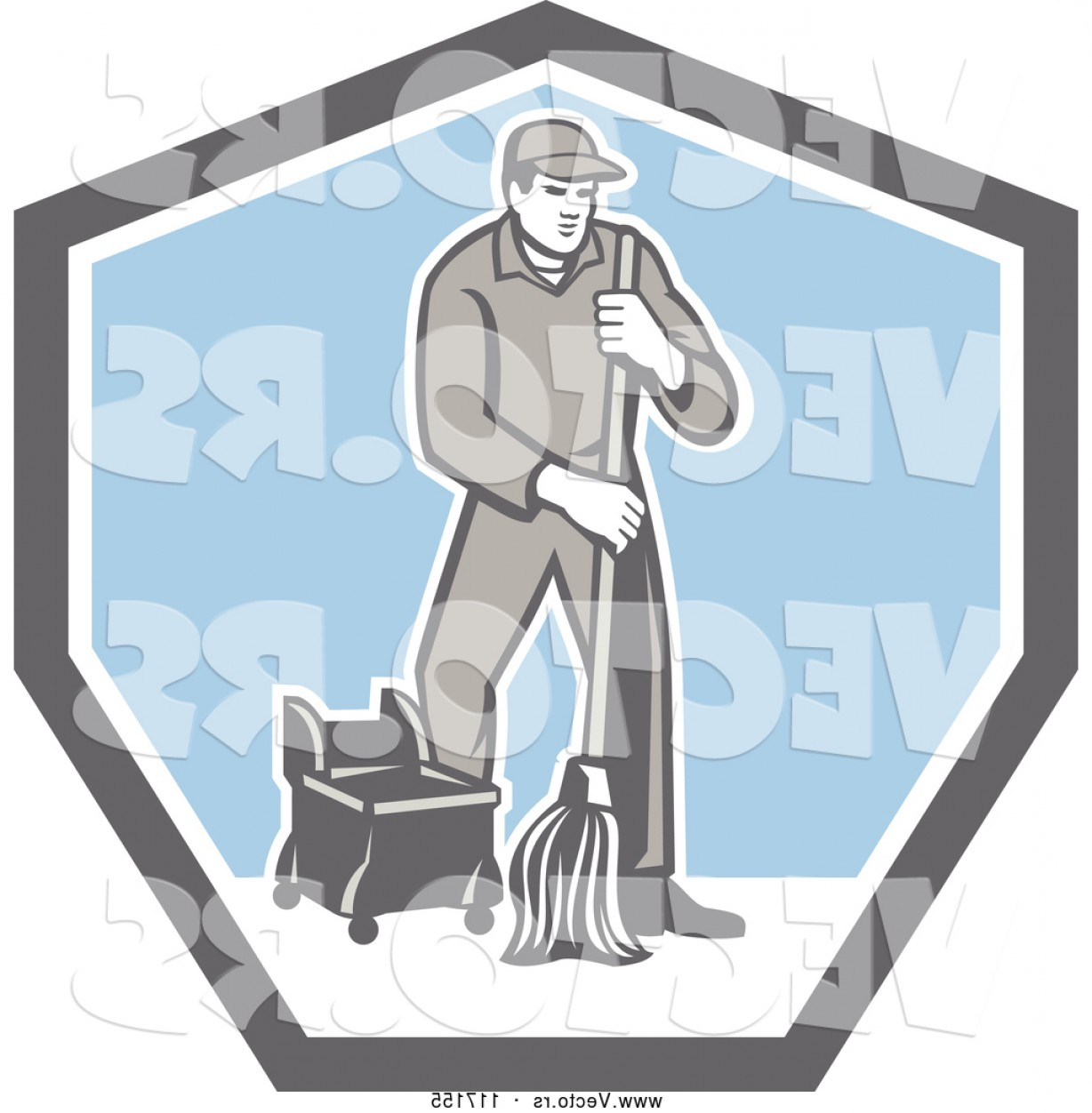 Janitorial Vector: Vector Of Retro Male Custodian Janitor In A Shield By Patrimonio