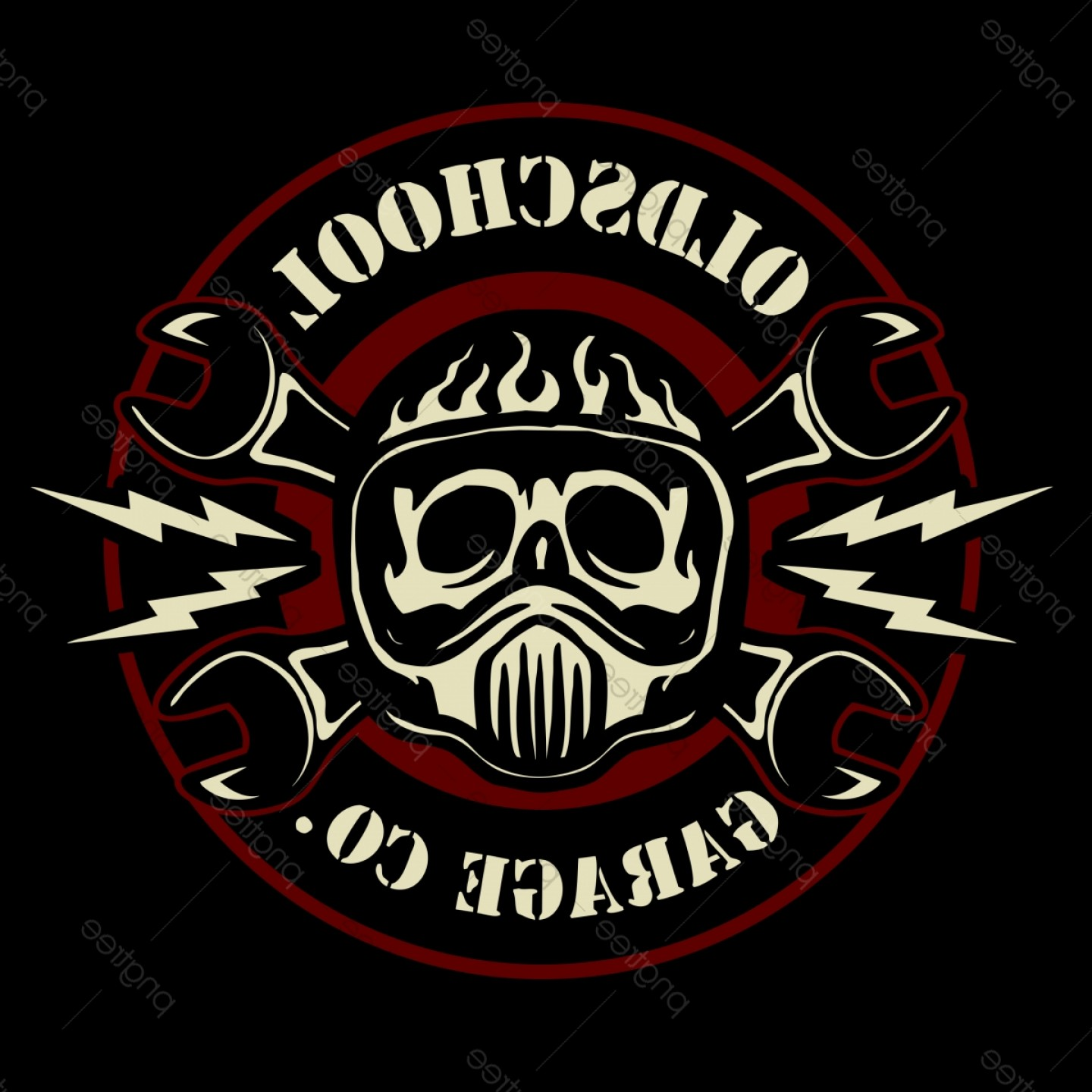 Motorcycle Club Vector: Vector Of Skull With Retro Full Face Helmet Suitable For Motorcycle Club Logo