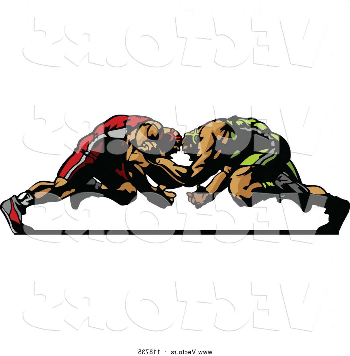 Vector Image Of Strong Wrestler: Vector Of Two Strong Male Wrestlers In A Match By Chromaco