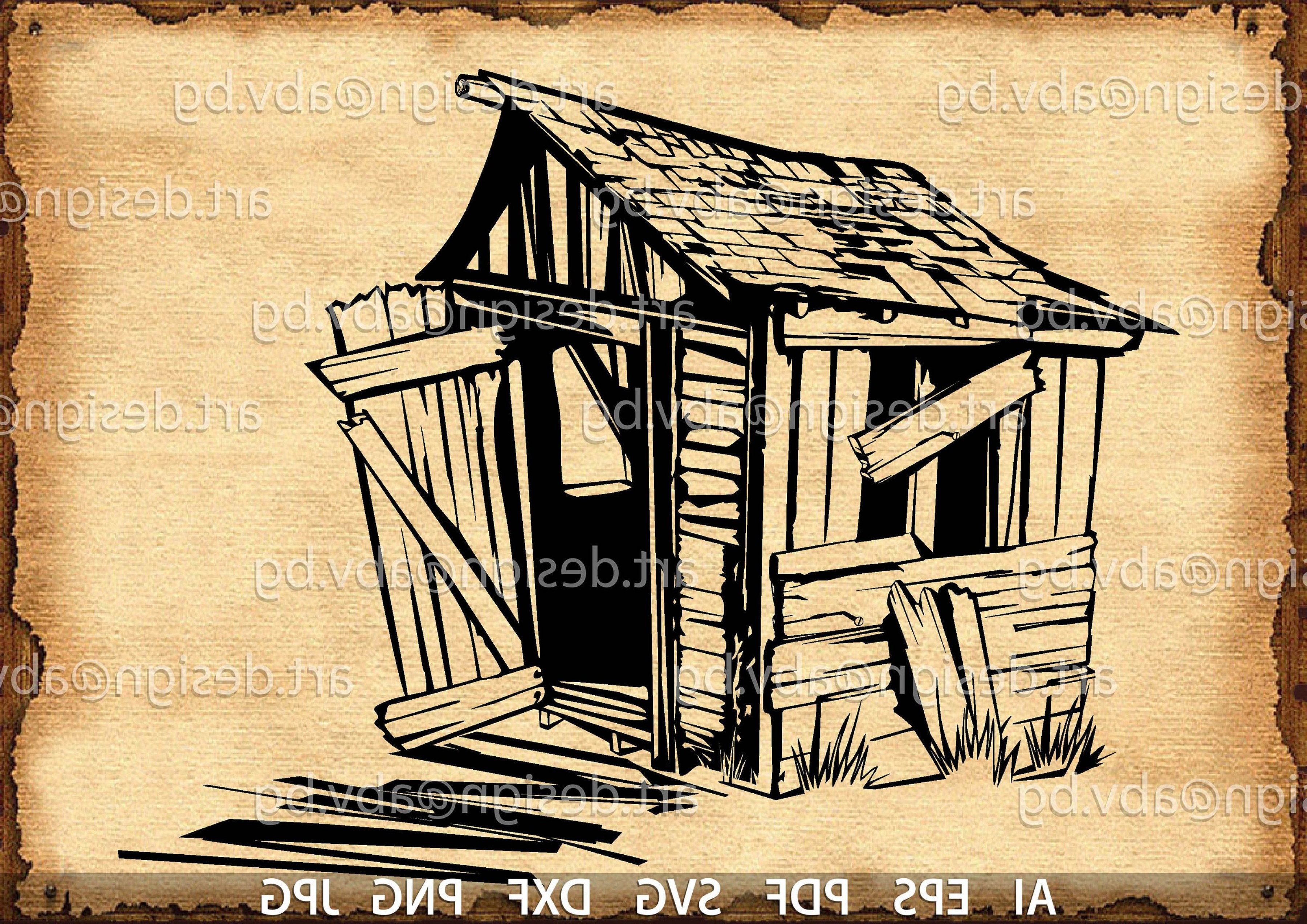 Shed PNG Vector: Vector Old Shack Wooden Shed Ai Eps Pdf