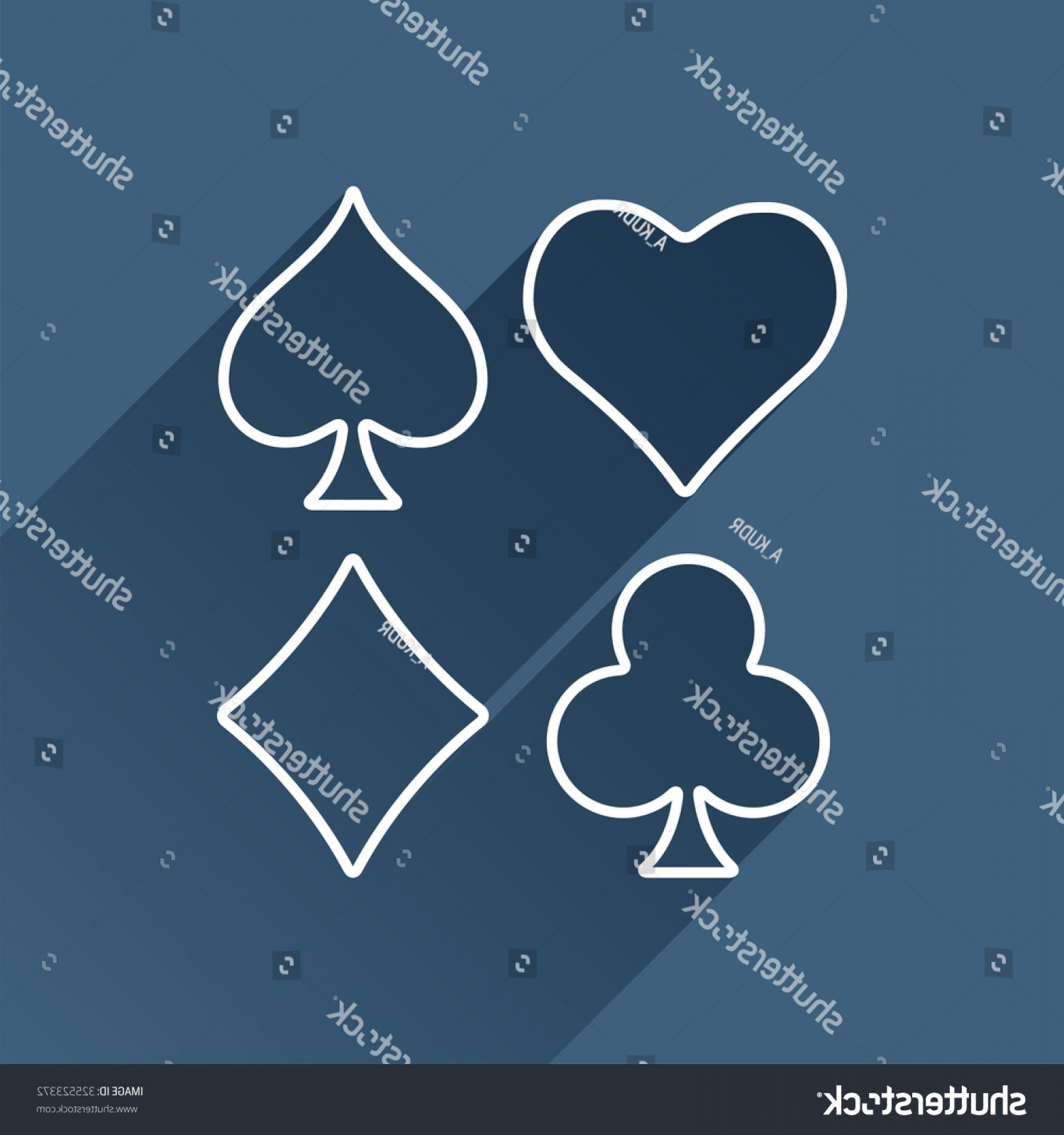 Card Suits Vector Outlines: Vector Outline Game Casino Cards Suit