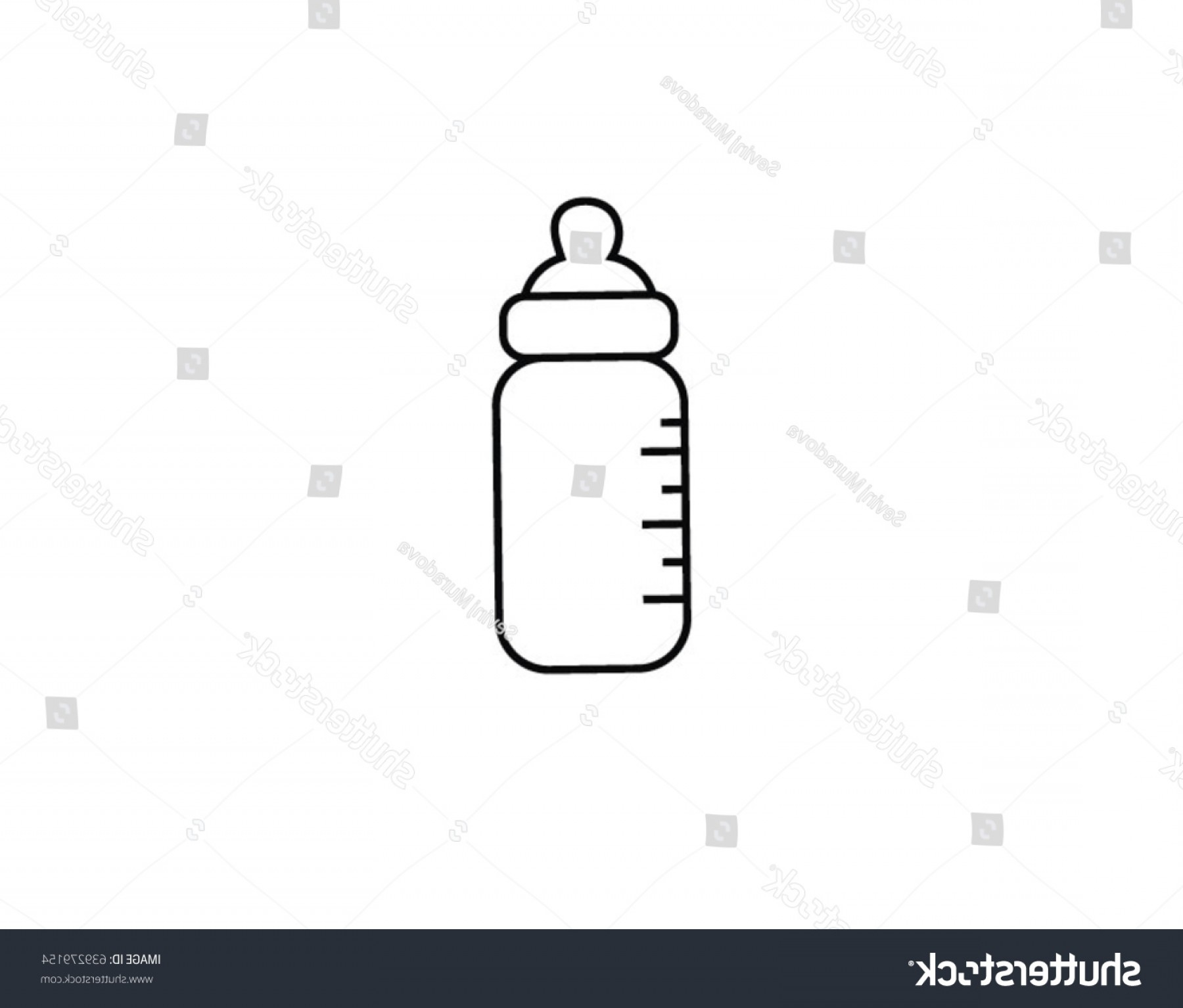 Babysitting In Diapers Vector Black: Vector Outline Icon Baby Bottle Child