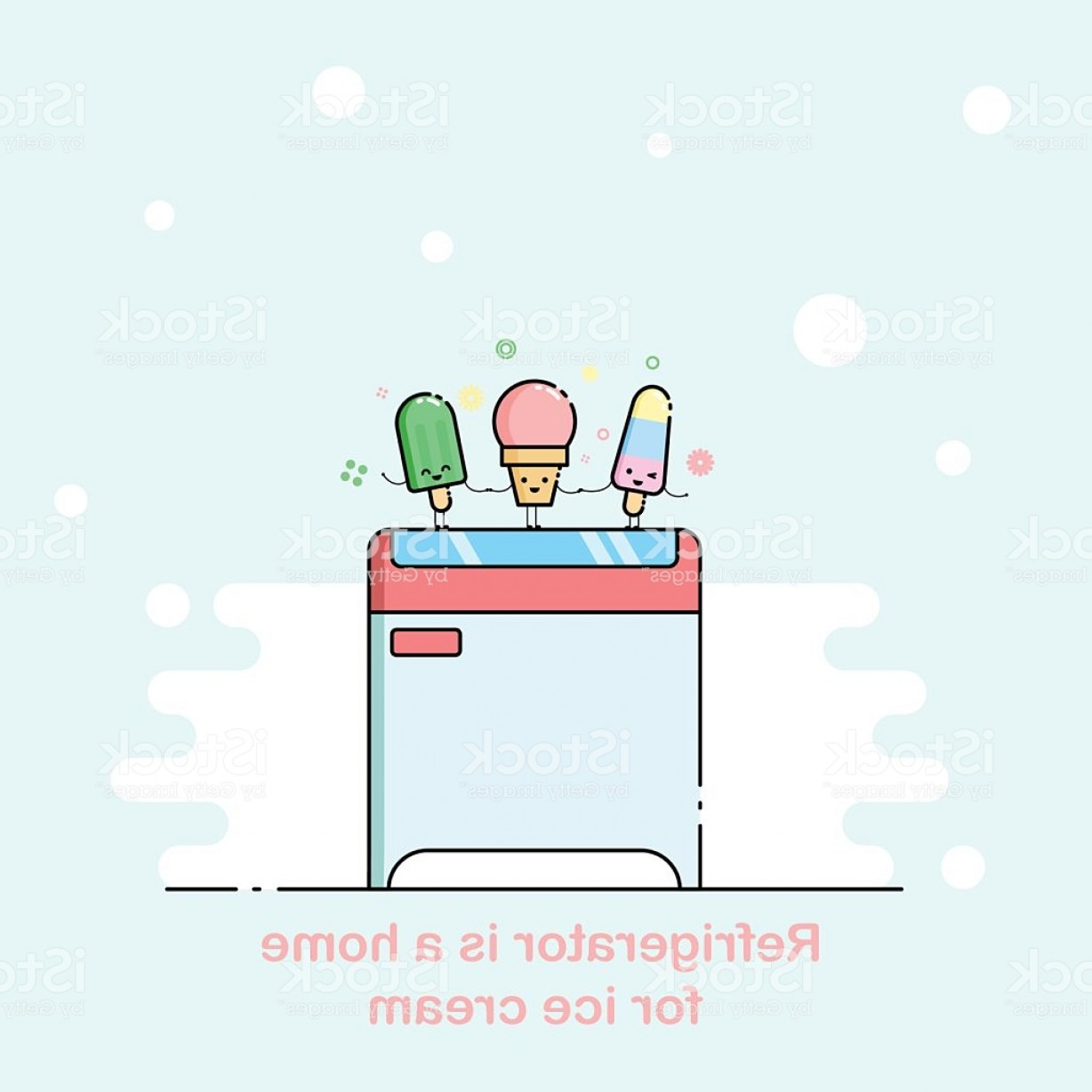 Snow Cone Outline Vector: Vector Outline Illustration With Supermarket Freezer Box Gm
