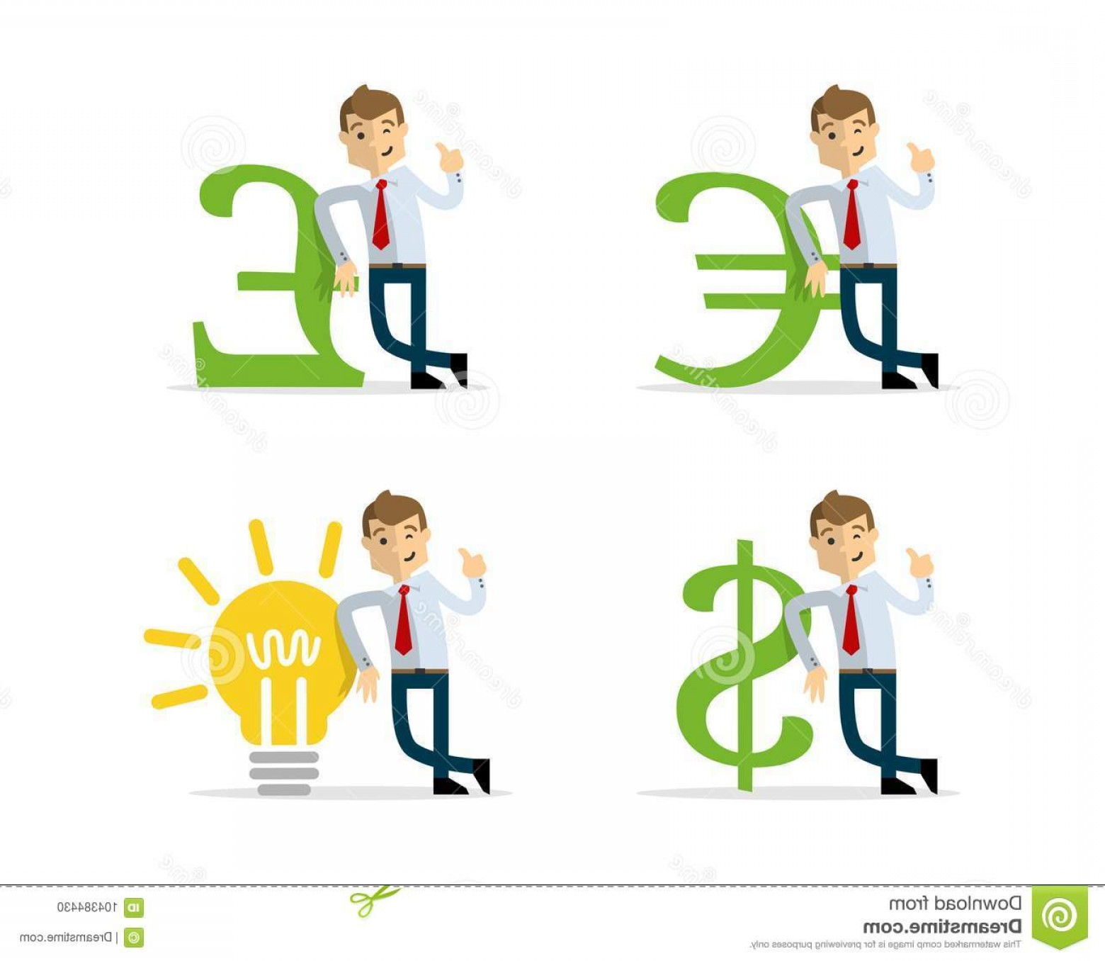 Lean Cup Vector: Vector Pack Businessman Lean Money Icon Bulb Ready To Use Website Illustration Print Image