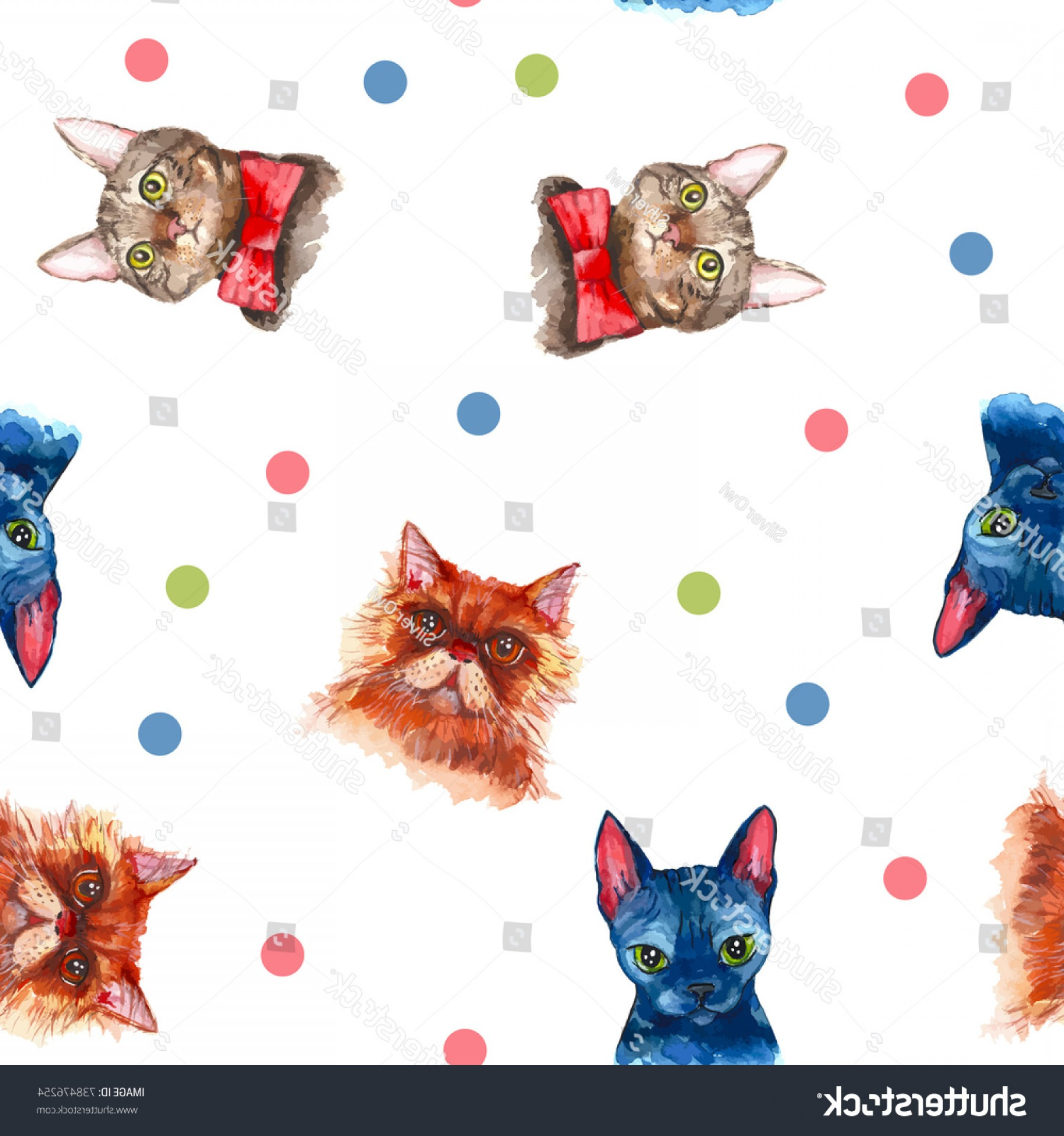 Vector Cats 3: Vector Pattern Cats Watercolor Dots