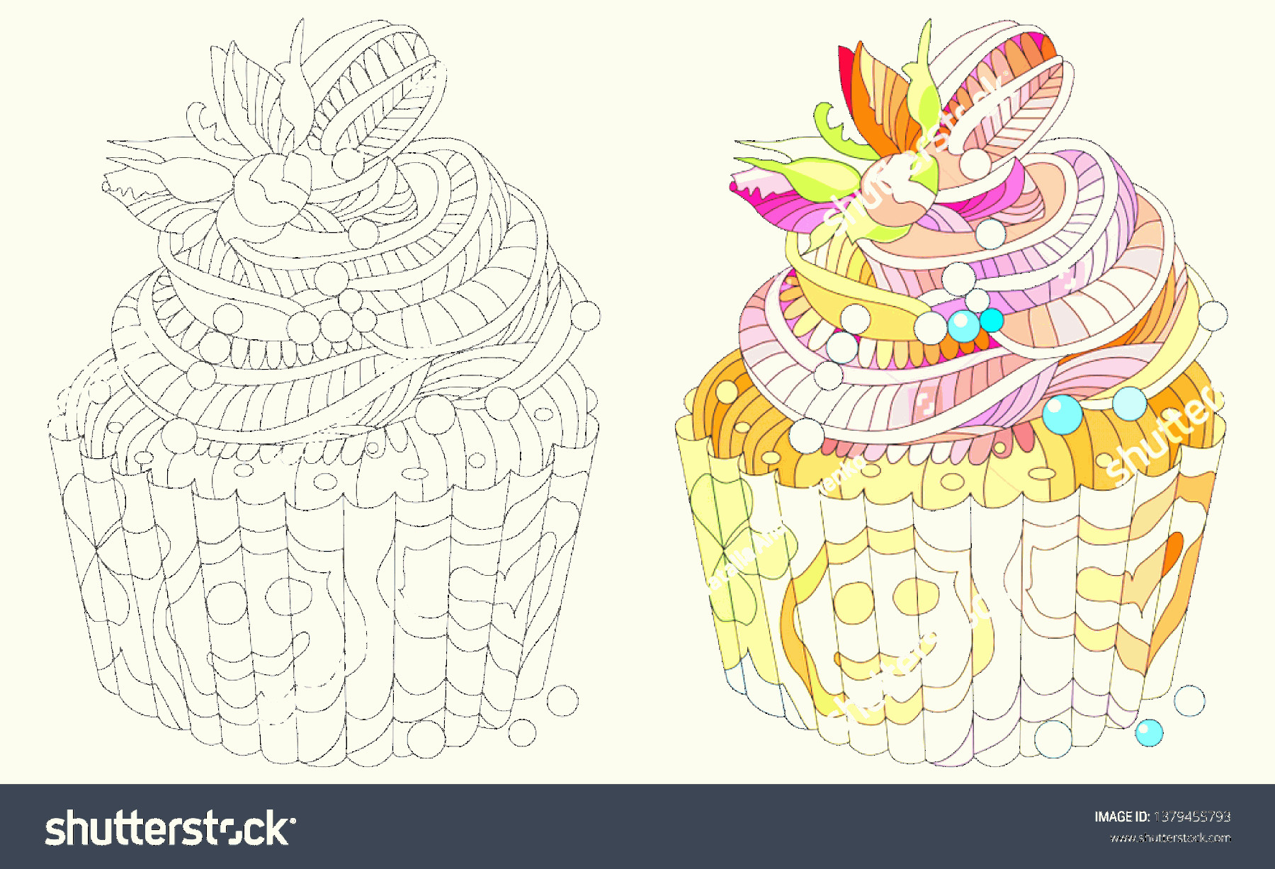 Vector Abstract Art Cake: Vector Piece Cake Abstract Ornaments Hand