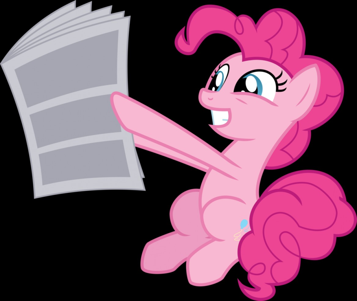 MLP Present Vector: Vector Pinkie Pie Reading The Newspaper