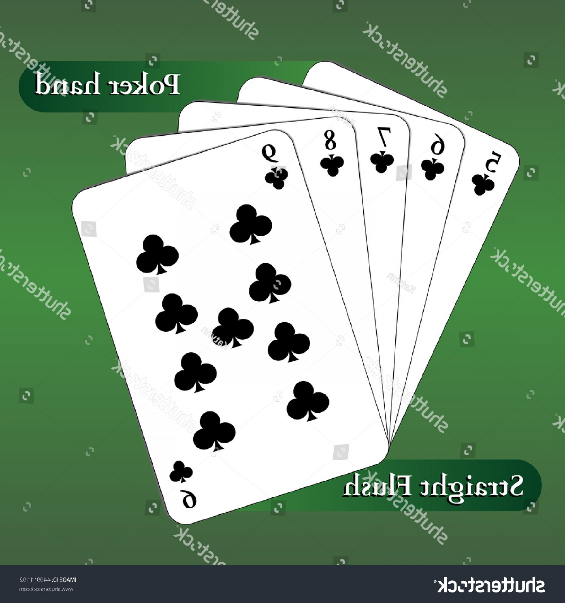 Poker Hand Vector: Vector Playing Cards Poker Hand Straight