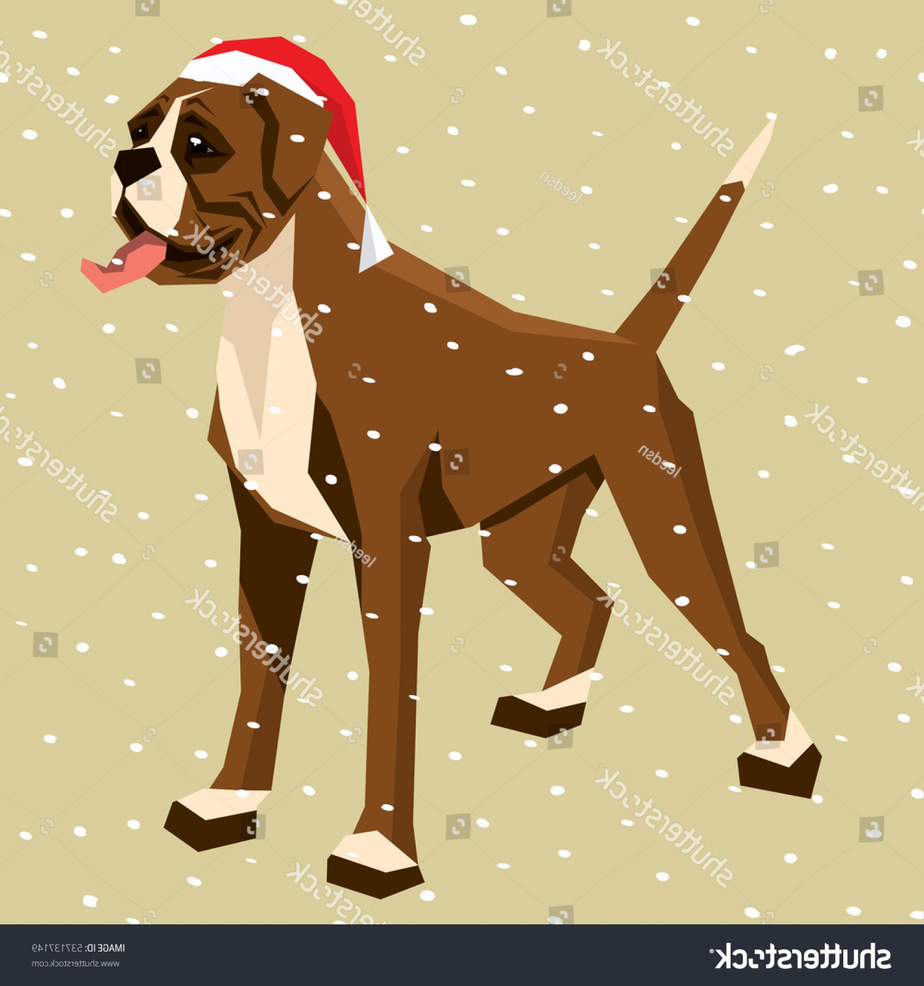 Bpxer Vector Art Happy Dog: Vector Polygon Dog Collection Boxer Christmas