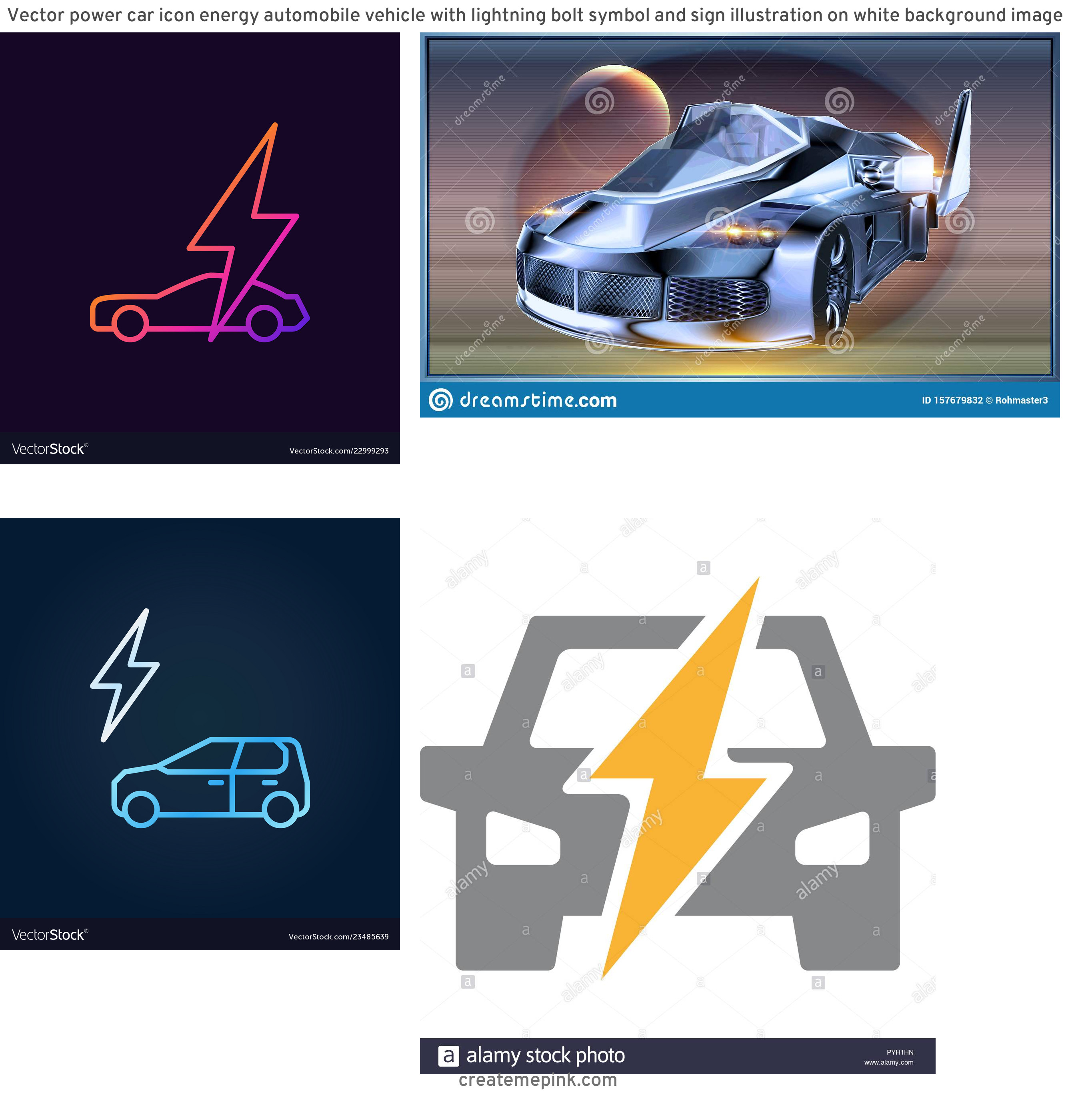 Lightning Car Graphics Vector: Vector Power Car Icon Energy Automobile Vehicle With Lightning Bolt Symbol And Sign Illustration On White Background Image