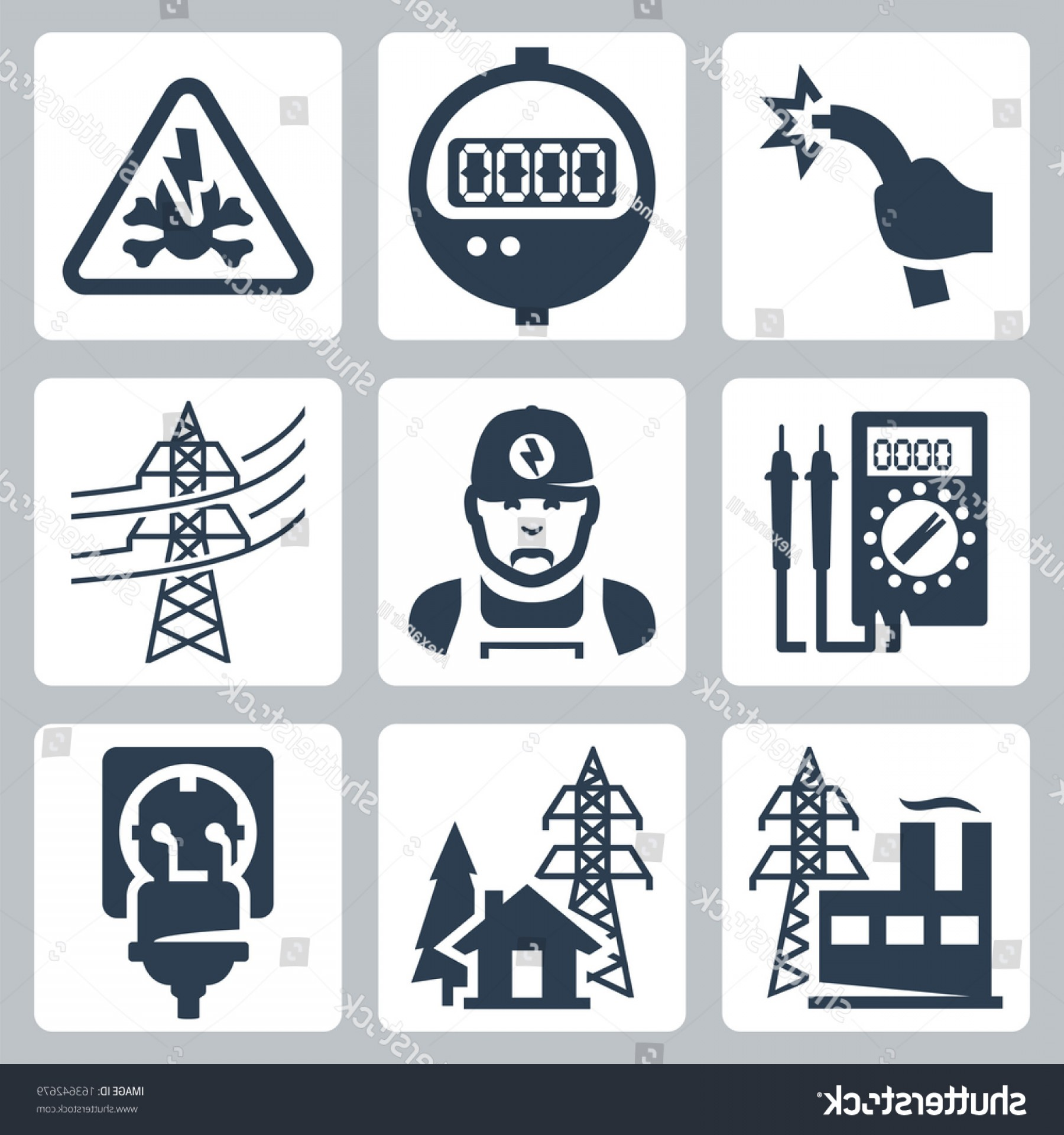 Vector Power Plant Utility: Vector Power Industry Icons Set Bared