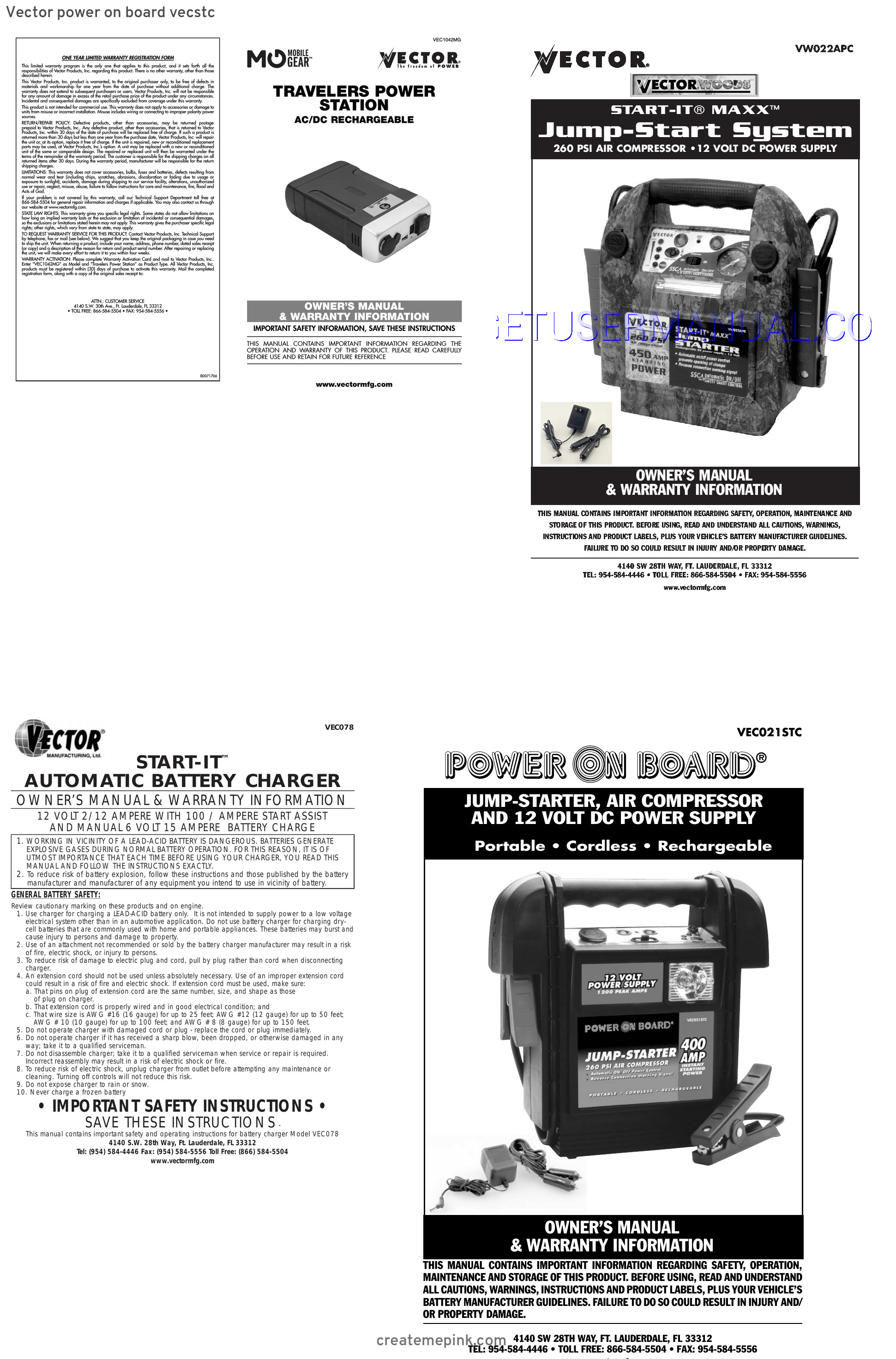 Vector Battery Charger Instruction Manual: Vector Power On Board Vecstc