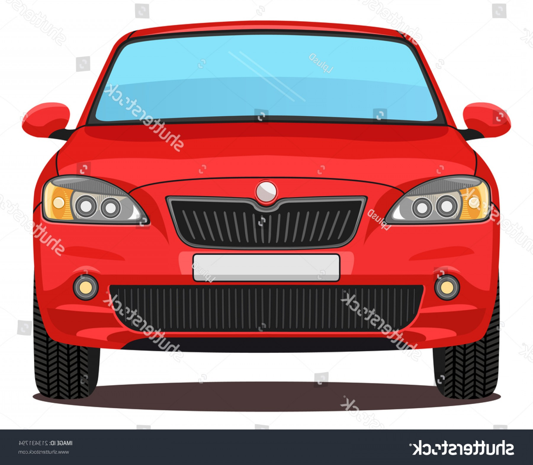SUV Car Elevation Vector: Vector Red Car Front View