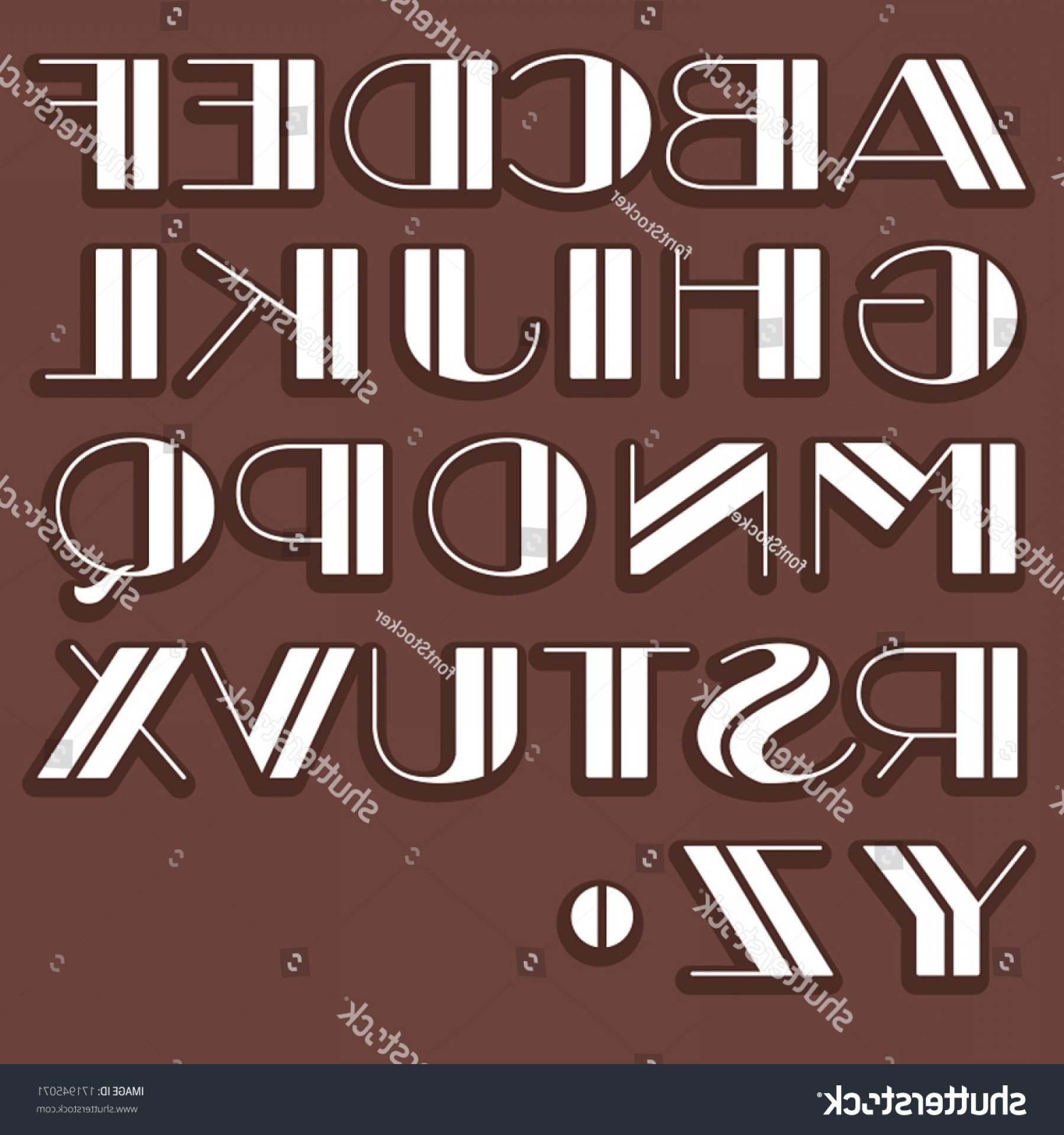 Art Deco Vector Small Posters: Vector Retro Alphabet Type Font Vintage