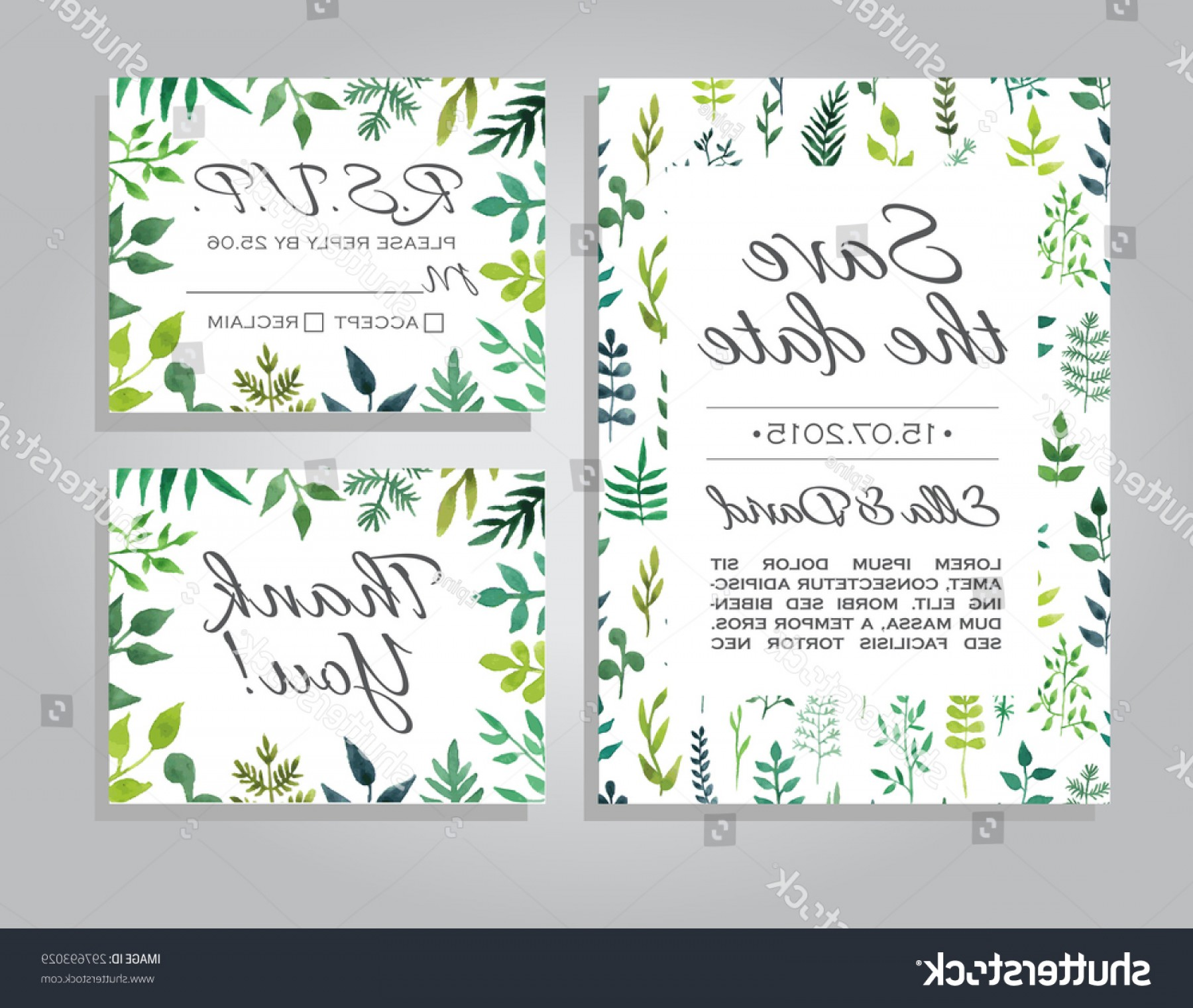 Rustic Wedding Invitation Vector: Vector Rustic Wedding Invitation Card Set